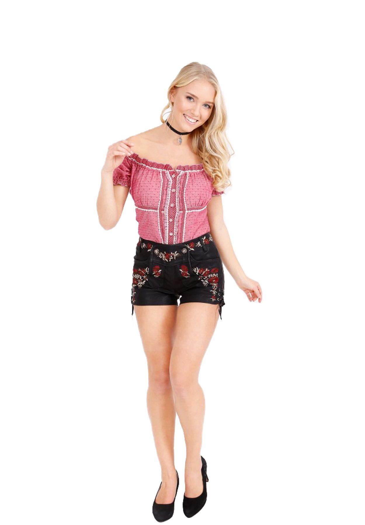 Krüger - Damen Trachtenhose in schwarz/rot, Black Rose (35395-4) – Bild 1