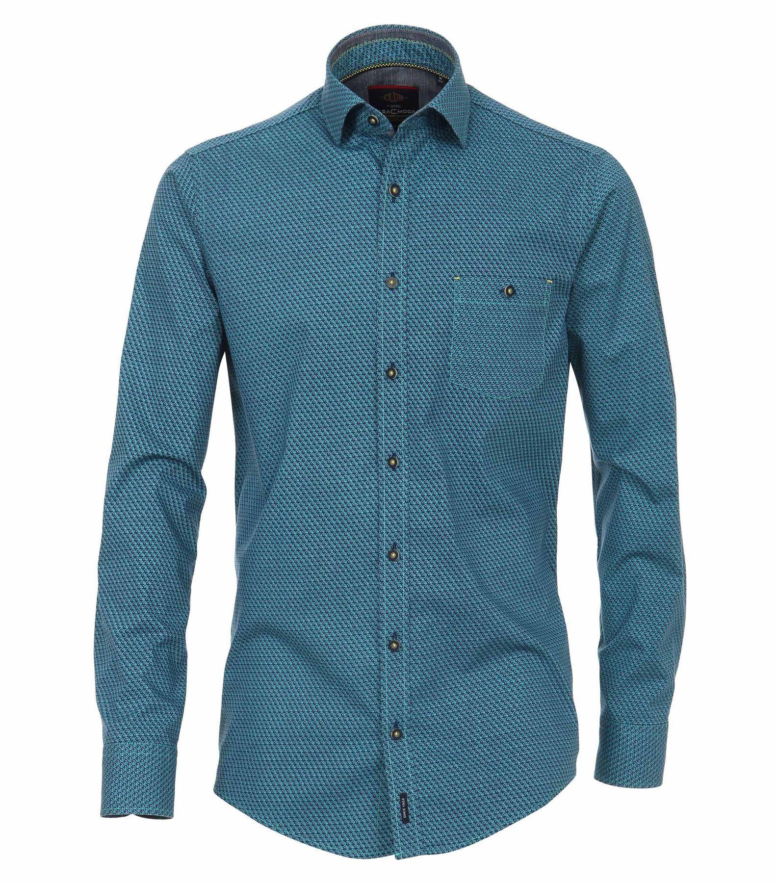 Casa Moda - Casual Fit - Herren Hemd mit modischem Druck mit Kent-Kragen in aqua bis petrol (482896700)