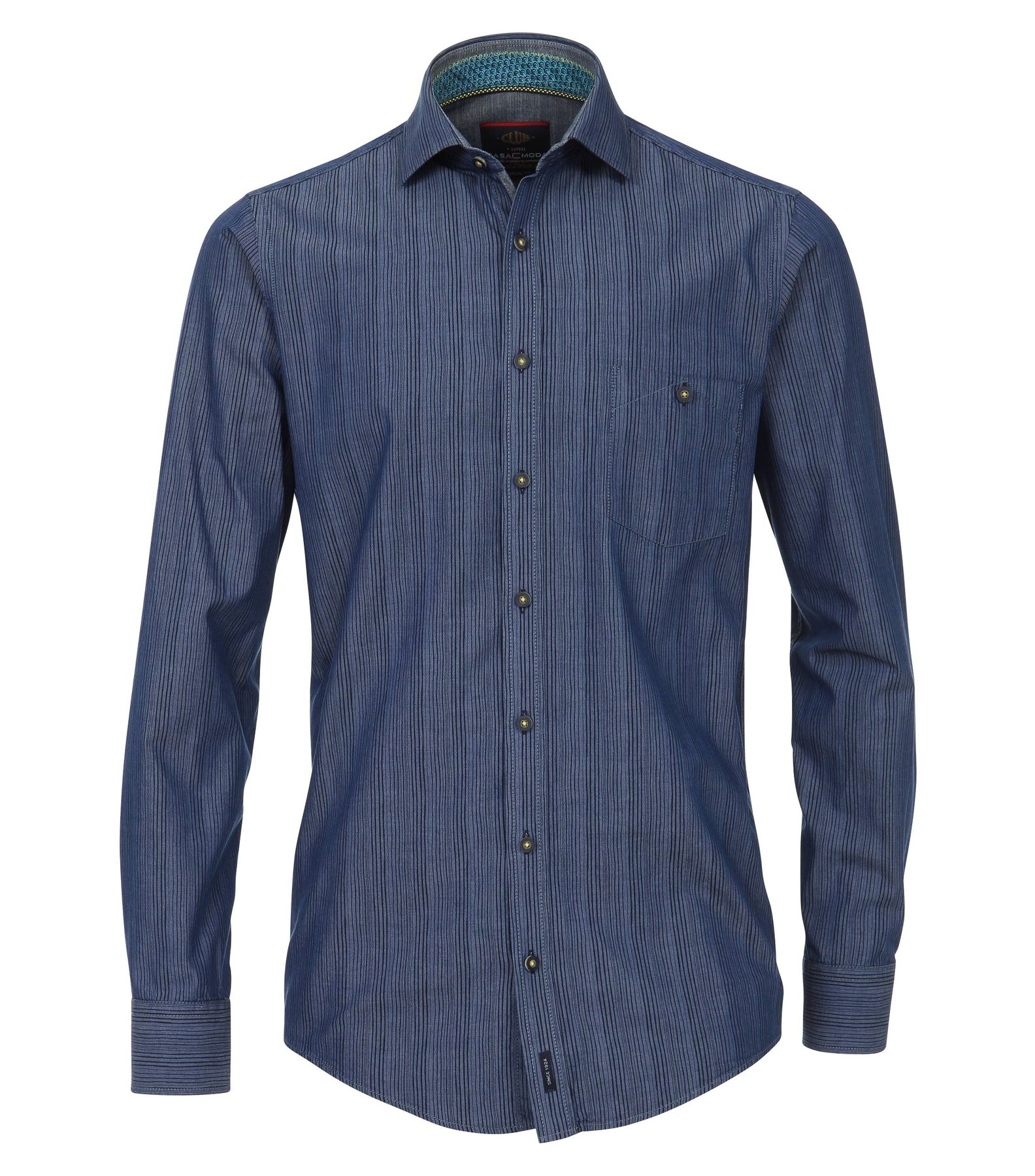 Casa Moda - Casual Fit - Herren Hemd mit modischem Druck mit Kent-Kragen in blau (482896800)