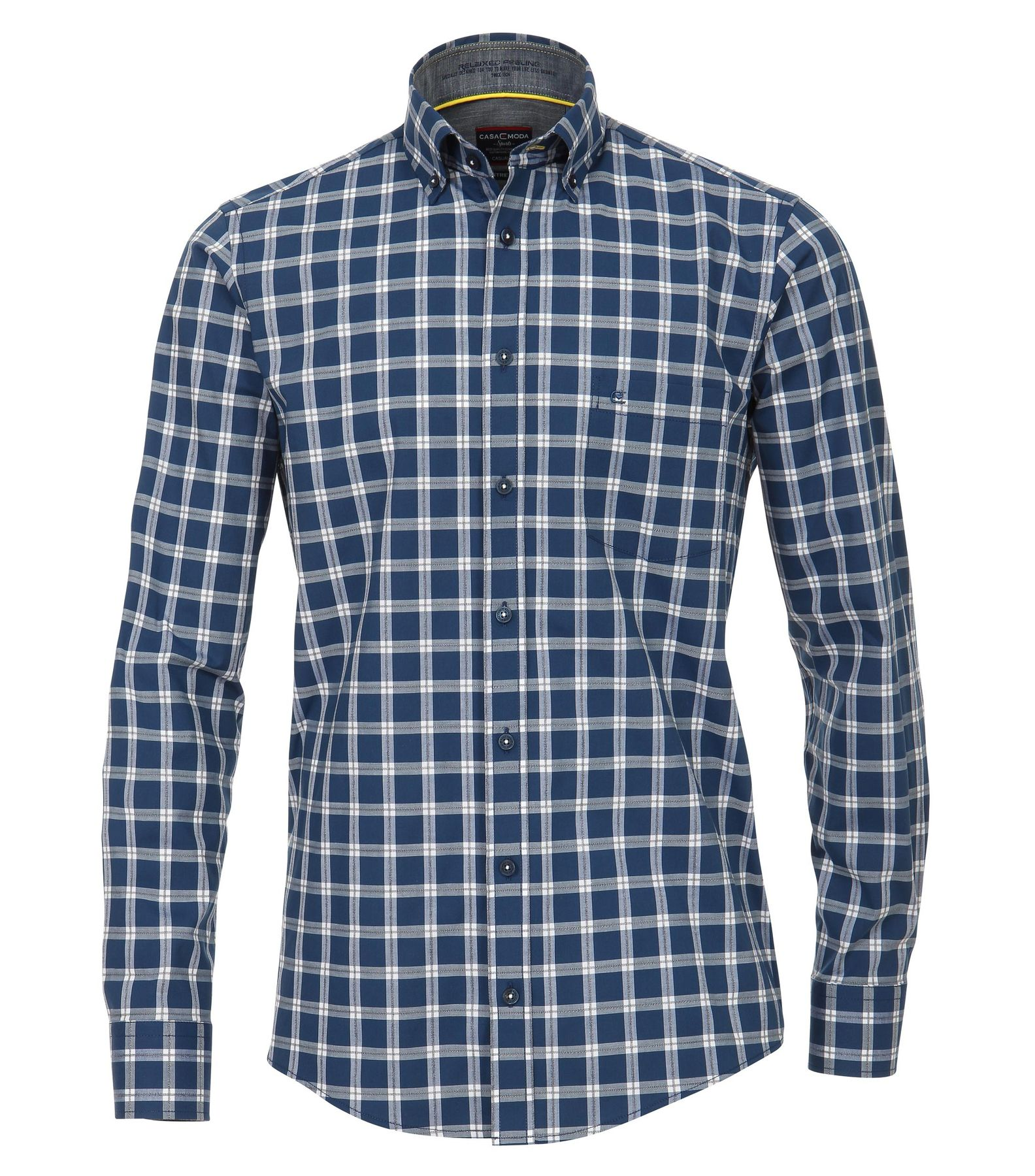 Casa Moda - Casual Fit - Stretch Herren Hemd kariert mit Button Down-Kragen in blau (482897700)