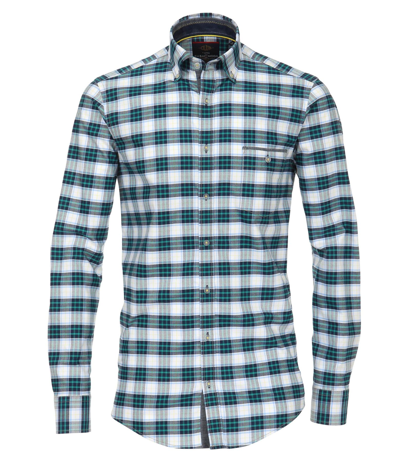 Casa Moda - Casual Fit - Oxford Herren Hemd kariert mit Button Down-Kragen in blau (482897900)