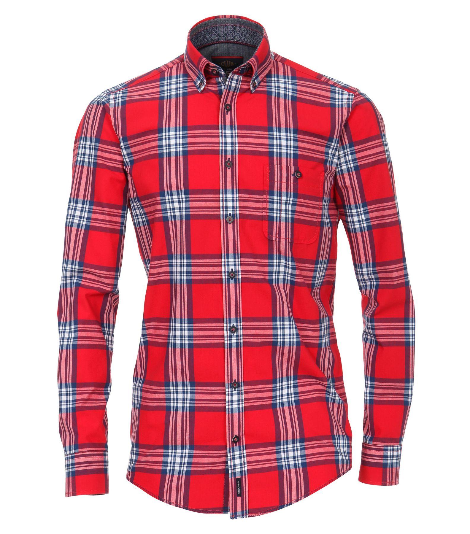 Casa Moda - Casual Fit - Gepeachtes Herren Hemd kariert mit Button Down-Kragen in rot (482900400)