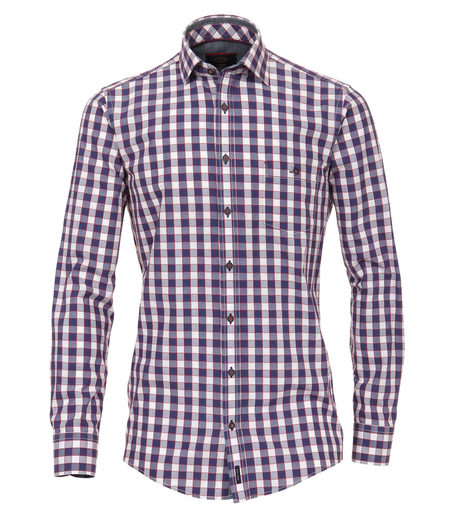 Casa Moda - Casual Fit - Fancy Herren Hemd kariert mit Kent-Kragen in blau (482900600)