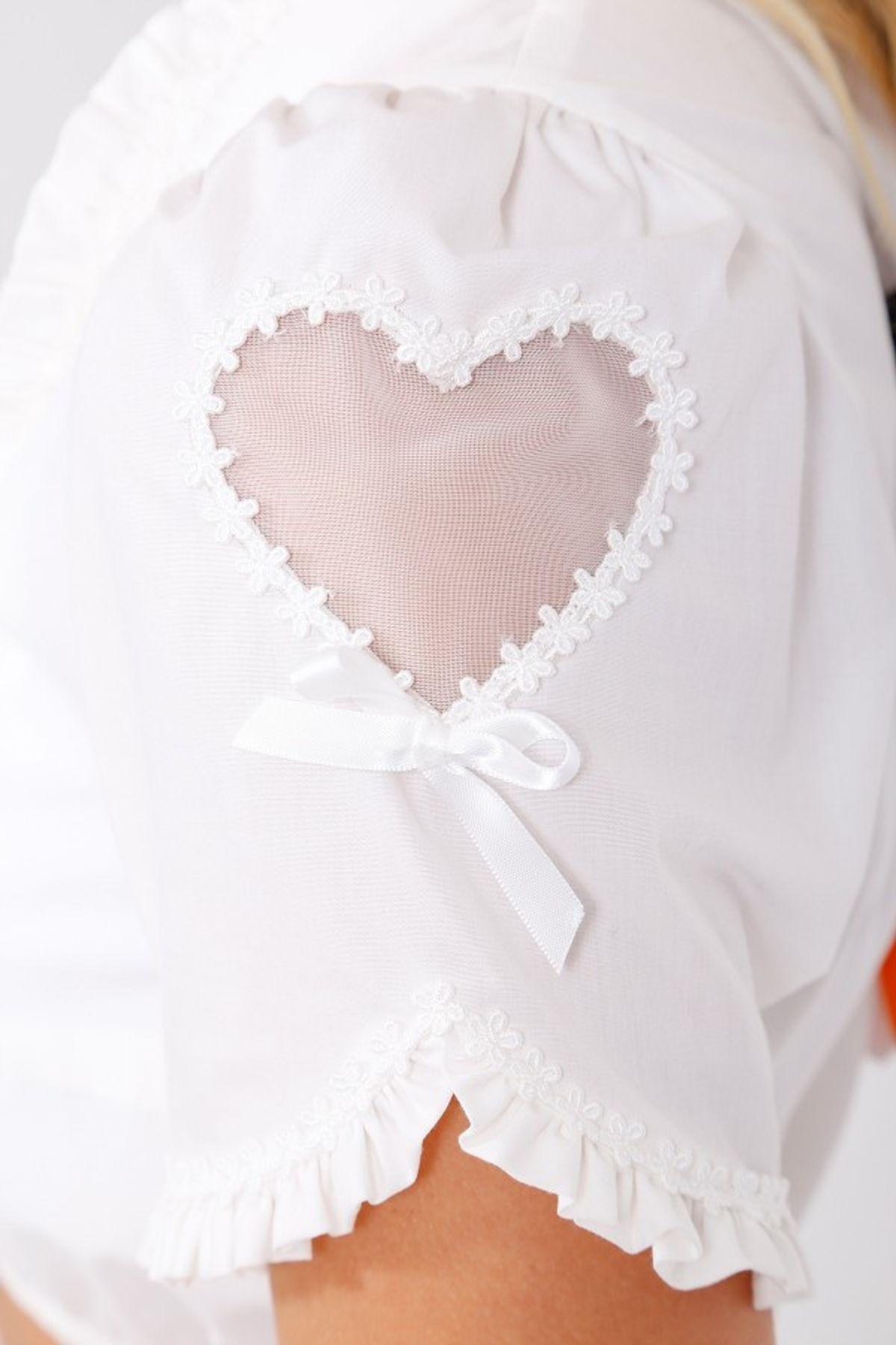 Krüger - Damen Dirndlbluse in ecru, Pretty Heart (32140-2) – Bild 5