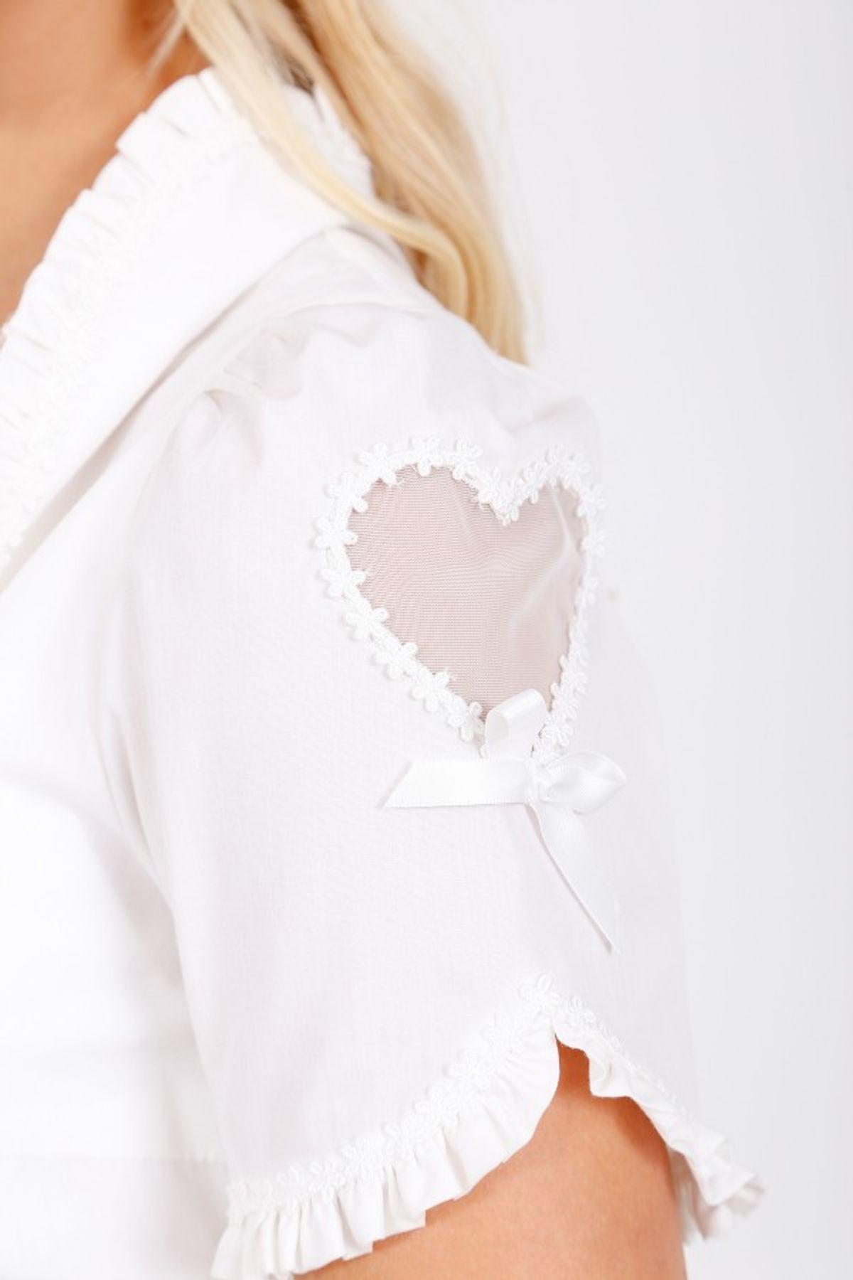 Krüger - Damen Dirndlbluse in weiß, Pretty Heart (32140-1) – Bild 3