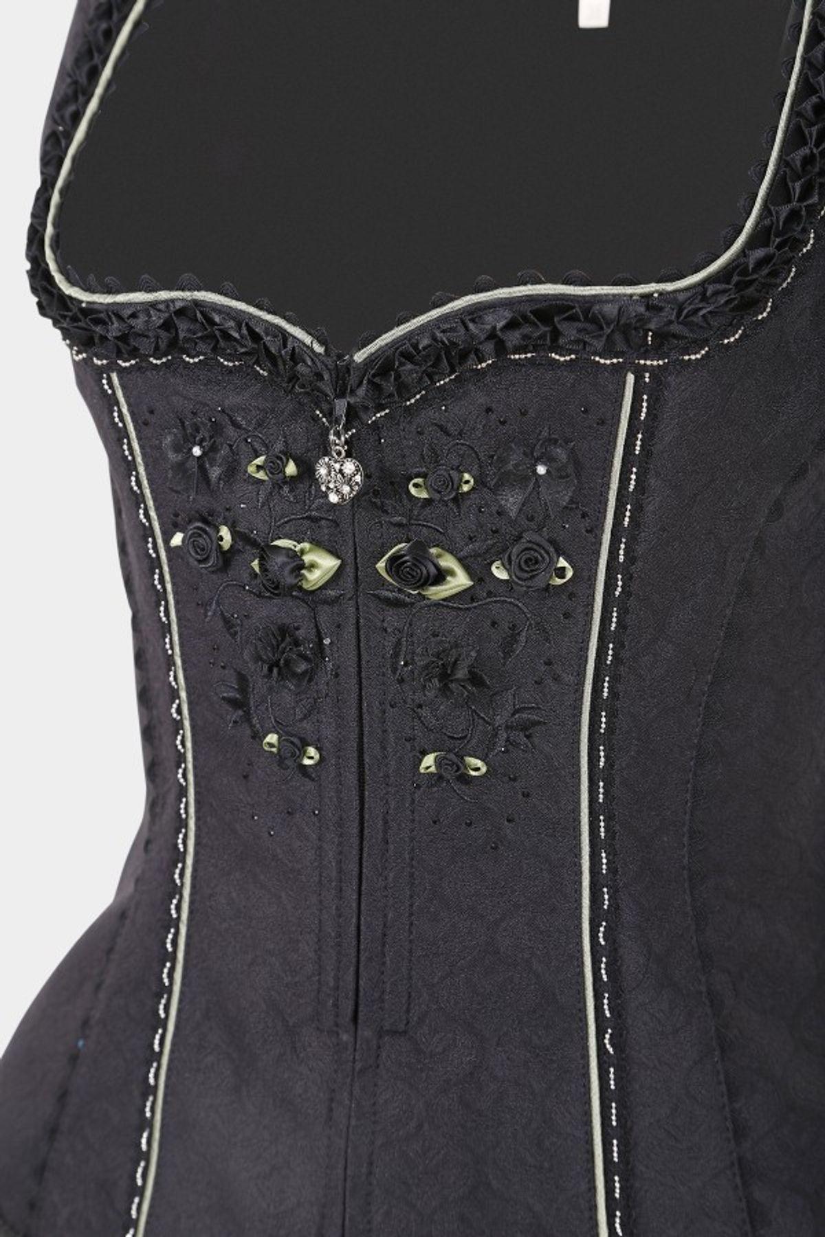 Krüger - Damen Trachtenmieder in schwarz, Black Rose (25502-4) – Bild 3