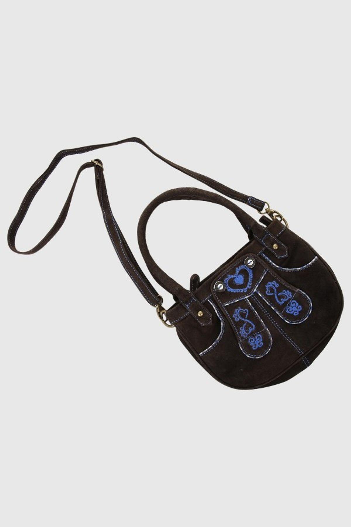 Krüger - Damen Trachtentasche in braun/blau, Krachlederne (4720-708) – Bild 3