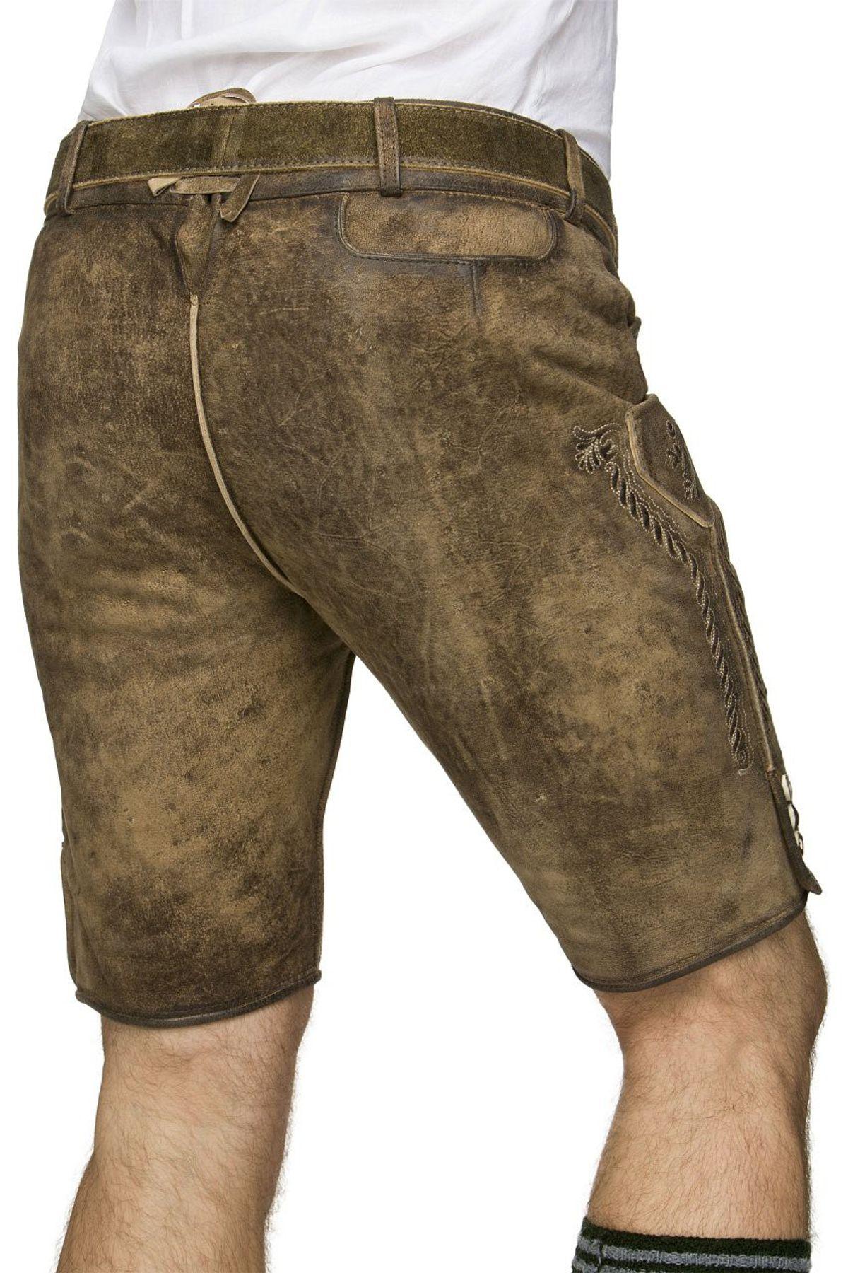 Stockerpoint - Herren Lederhose mit Gürtel, Stein Geäscht und Korn Gespeckt, Thomas – Bild 5