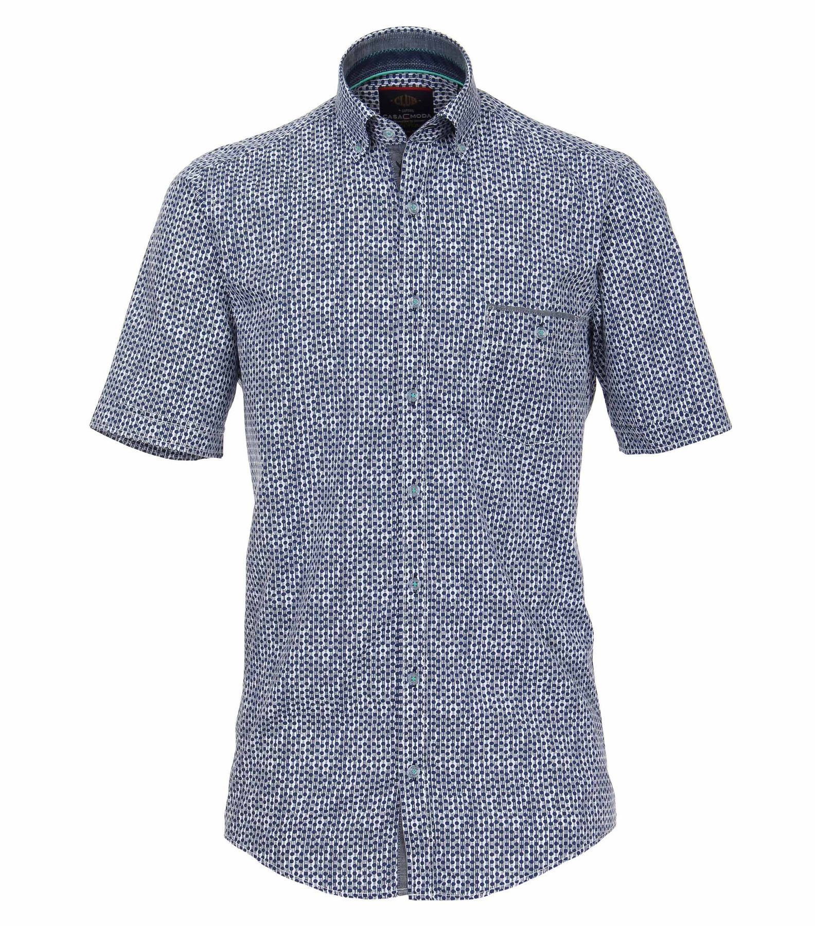 Casa Moda - Casual Fit - Herren Hemd Halbarm mit modischem Druck mit Button Down-Kragen in blau (982979200)