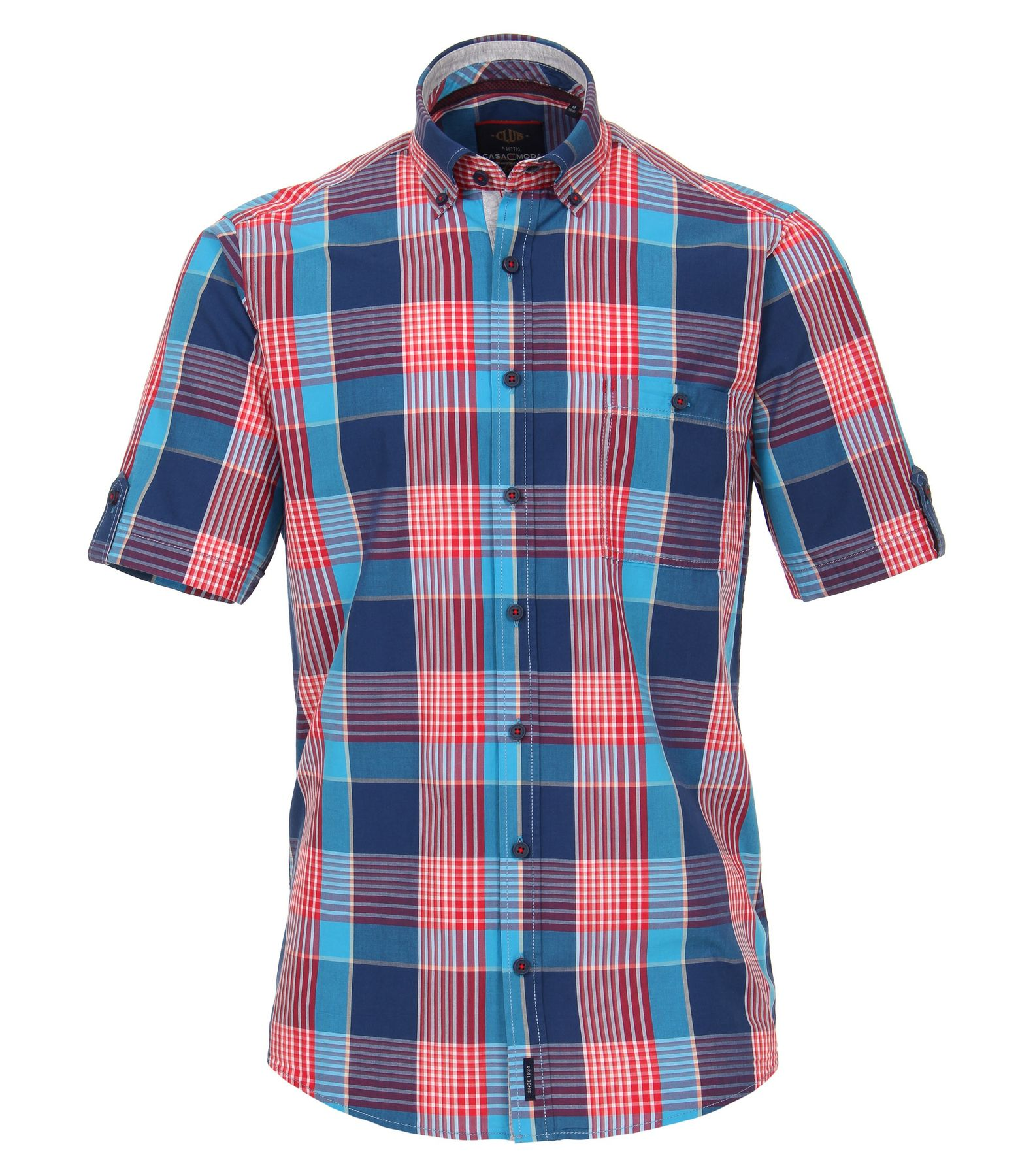 Casa Moda - Casual Fit - Herren Freizeit 1/2-Arm-Hemd in blau/rot mit Button-Down-Kragen (982974500)