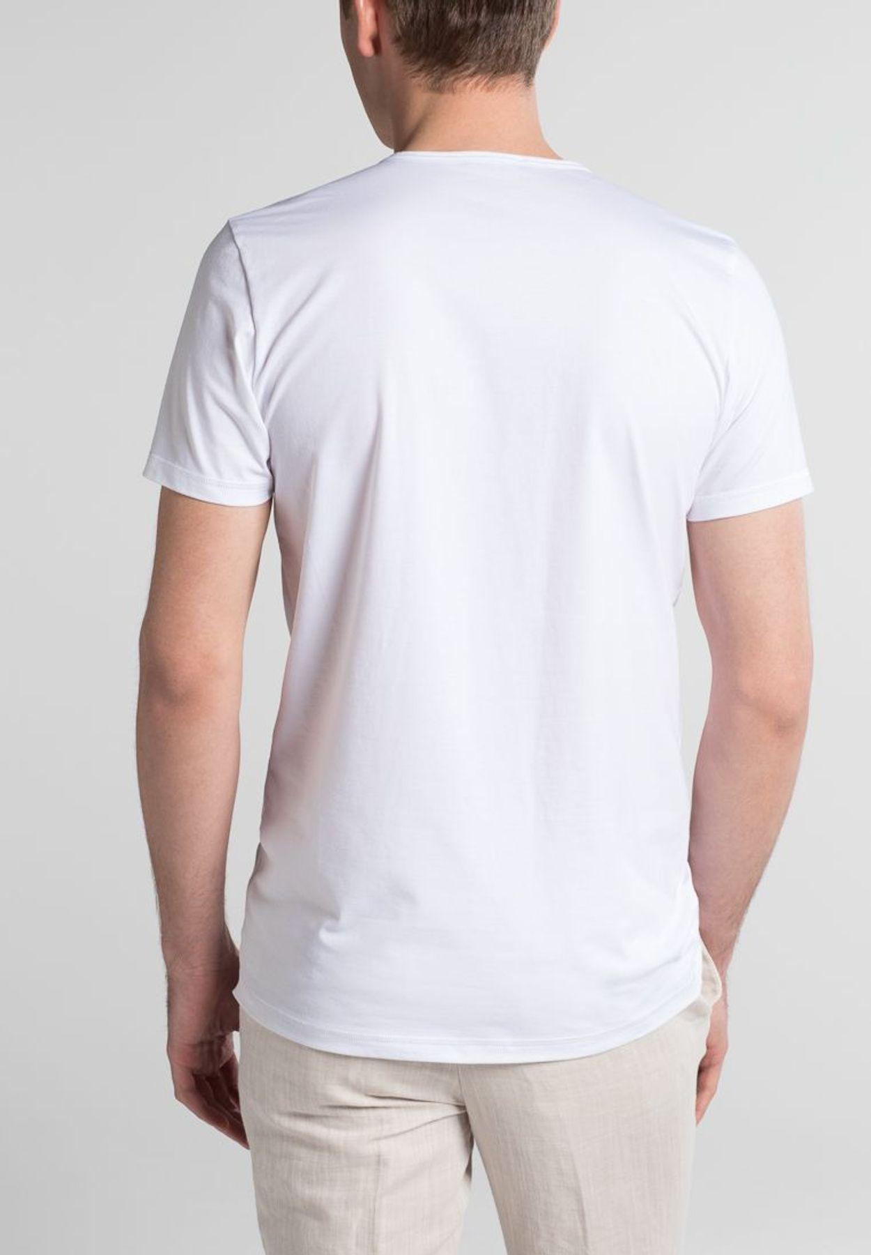 Eterna - Herren Bodyshirt mit verlängertem V-Ausschnitt in schwarz und weiß (804) – Bild 6