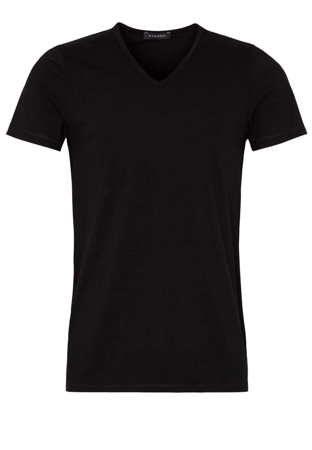 Eterna - Herren Bodyshirt mit verlängertem V-Ausschnitt in schwarz und weiß (804) – Bild 7