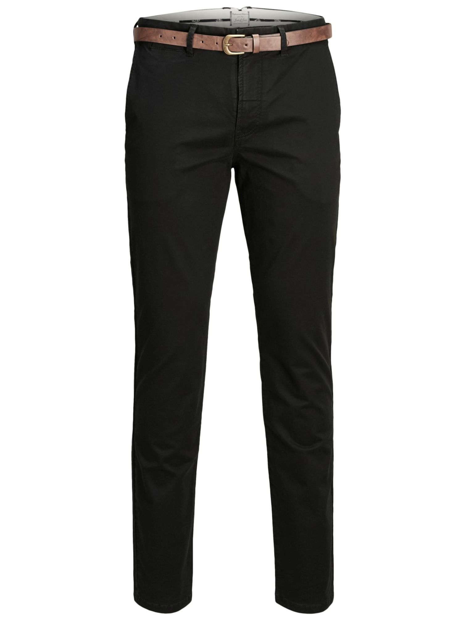 promo code a6373 51d0e Jack & Jones - Herren Chino Hose mit Gürtel in Schwarz, Regular Fit (Art.  12139722)