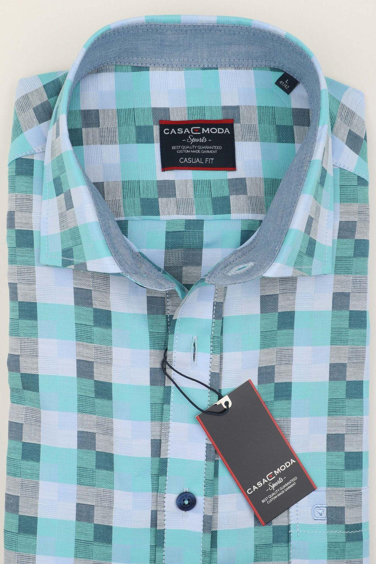 Casa Moda - Casual Fit - Herren Freizeit 1/2-Arm-Hemd mit Muster in blau (983074600) – Bild 2