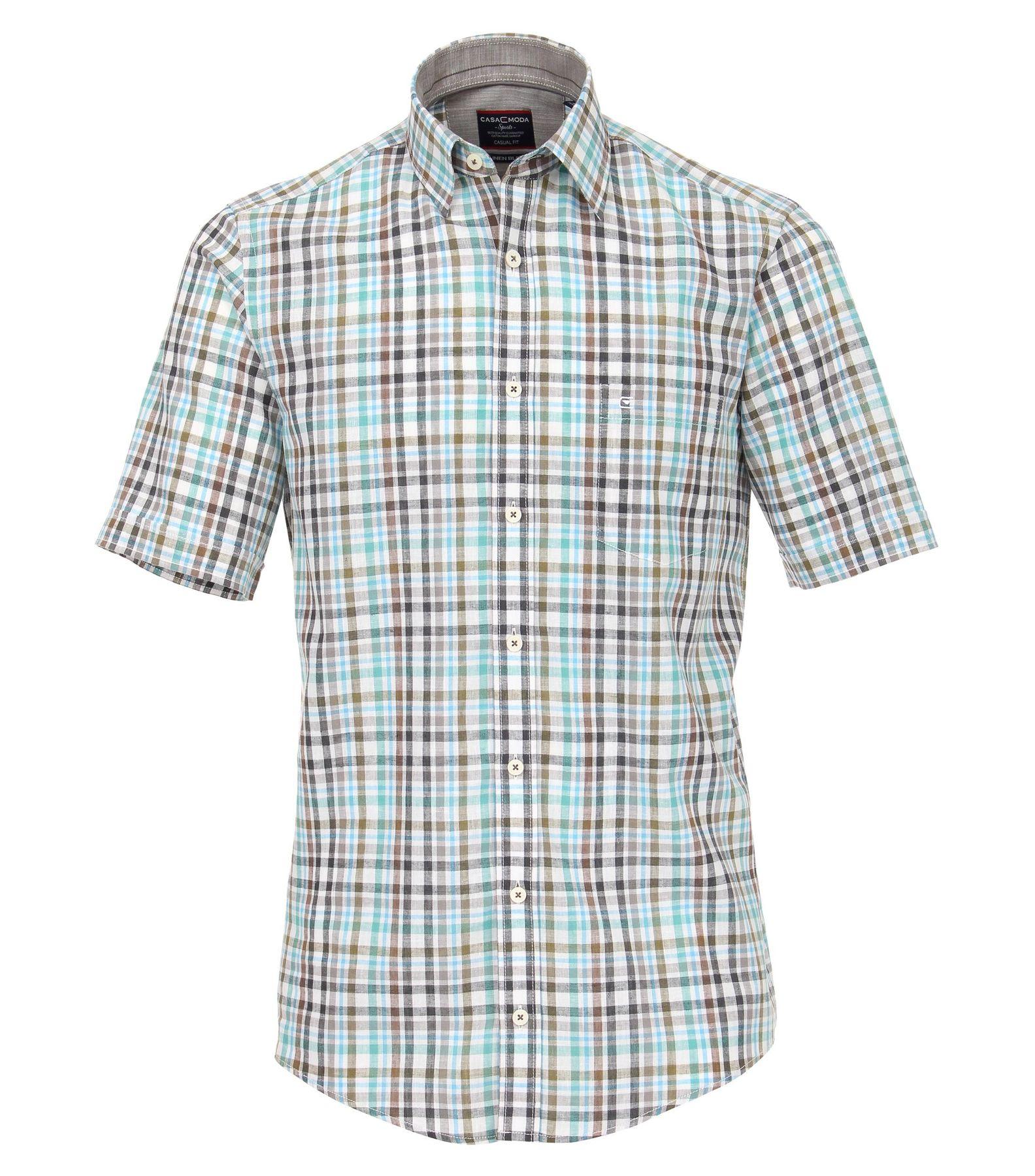 Casa Moda - Casual Fit - Leinenmischung Herren Hemd Halbarm kariert mit Kent-Kragen in grün oder rot (982908200) – Bild 1
