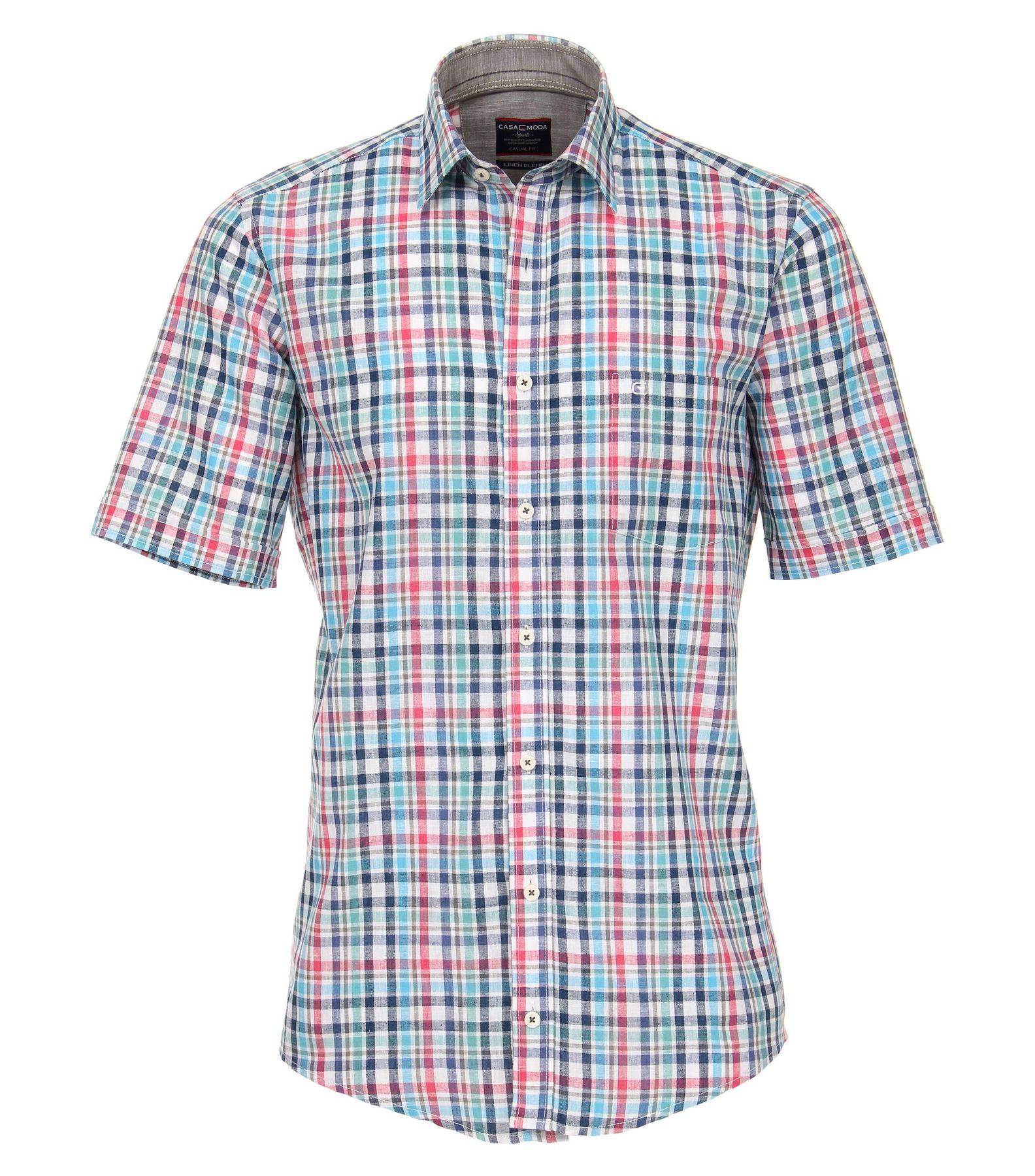 Casa Moda - Casual Fit - Leinenmischung Herren Hemd Halbarm kariert mit Kent-Kragen in grün oder rot (982908200) – Bild 2