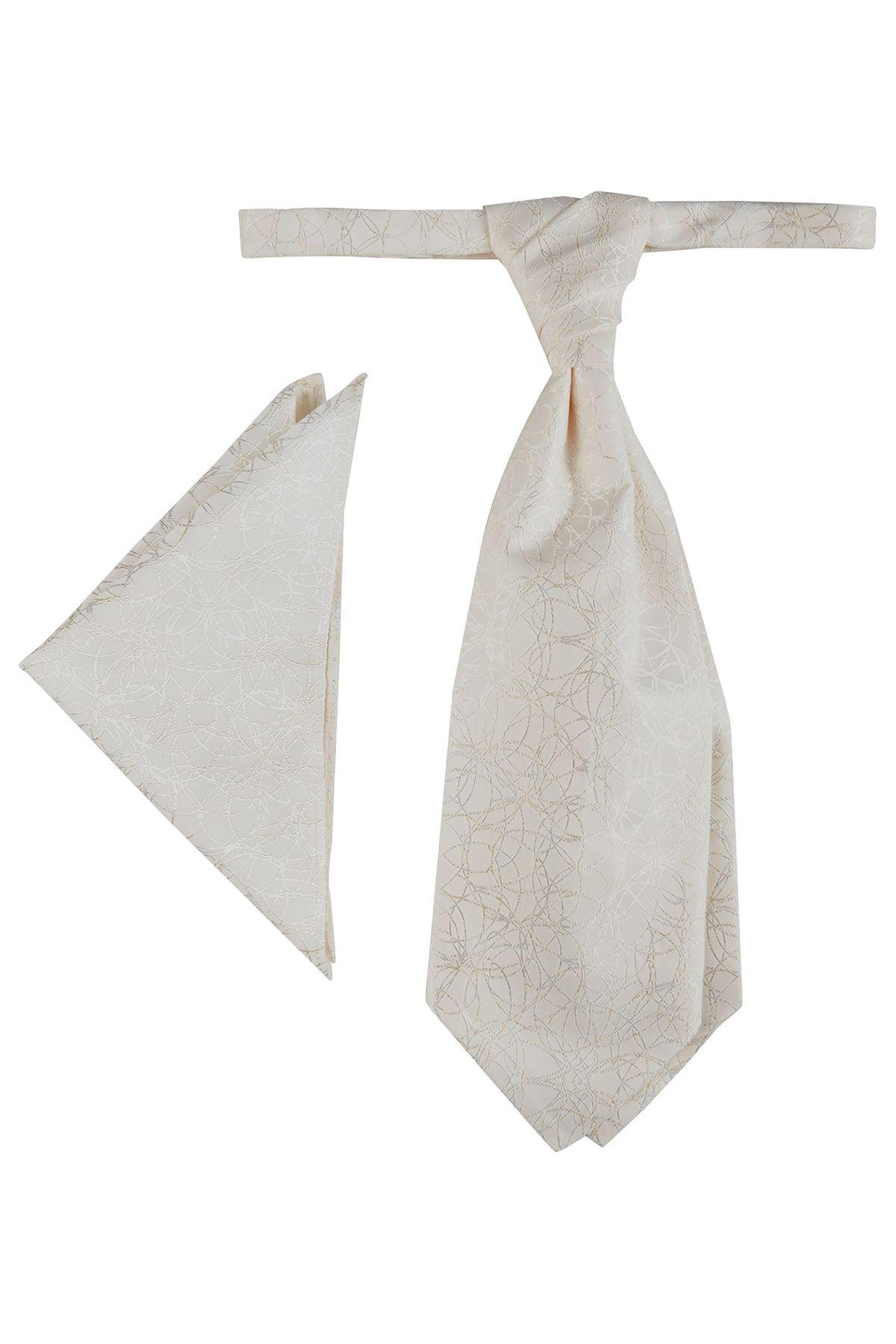 Wilvorst - Festliches Krawattenplastron/Tuch in creme (417203/81 Modell 0612) – Bild 1