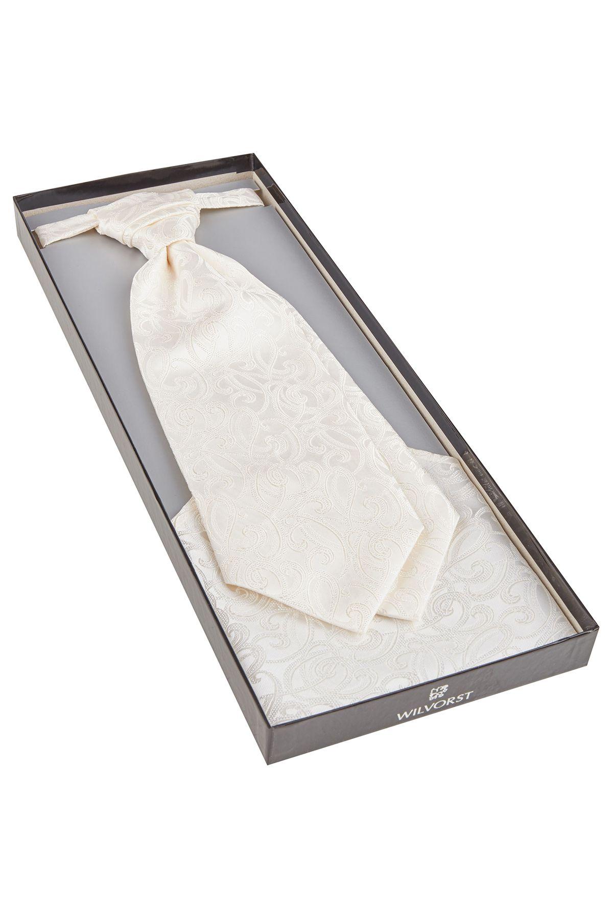 Wilvorst - Festliches Krawattenplastron/Tuch in creme (407204/82 Modell 0612) – Bild 2