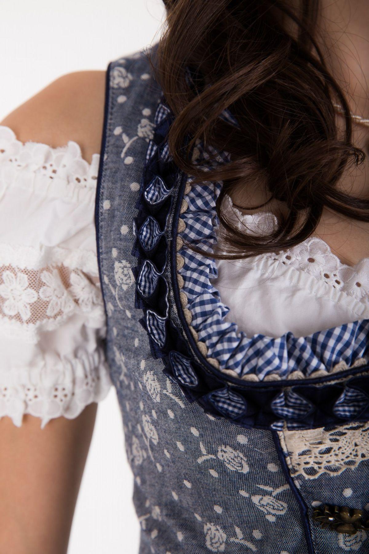 Krüger - Damen Trachten Mieder in Jeans Optik aus 100% Baumwolle, Michaela (Artikelnummer: 33573-8) – Bild 2