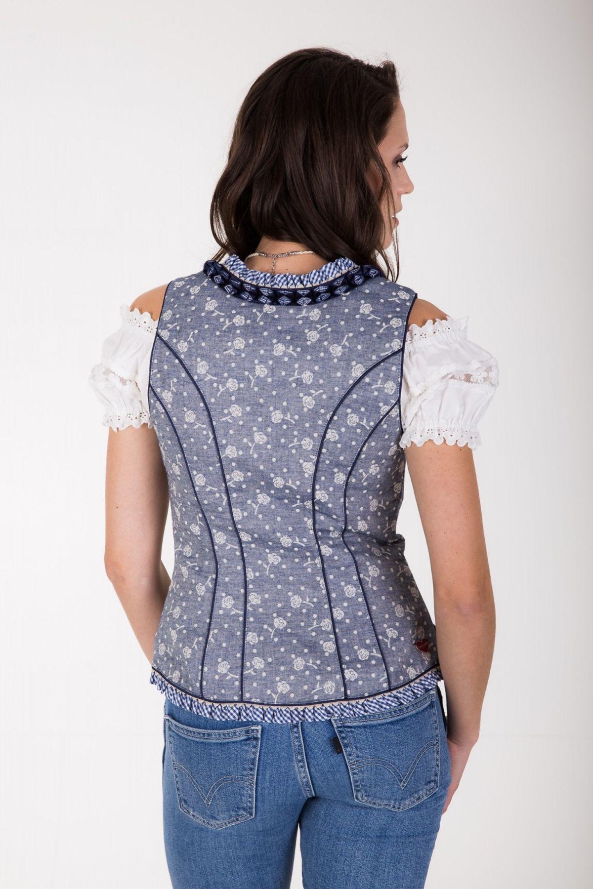 Krüger - Damen Trachten Mieder in Jeans Optik aus 100% Baumwolle, Michaela (Artikelnummer: 33573-8) – Bild 4