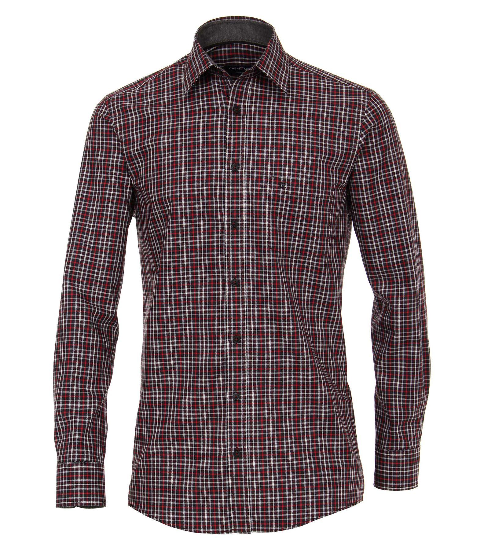 Casa Moda - Comfort Fit - Gepeachtes Herren Langarm Hemd kariert mit Kent-Kragen (483090700) – Bild 1
