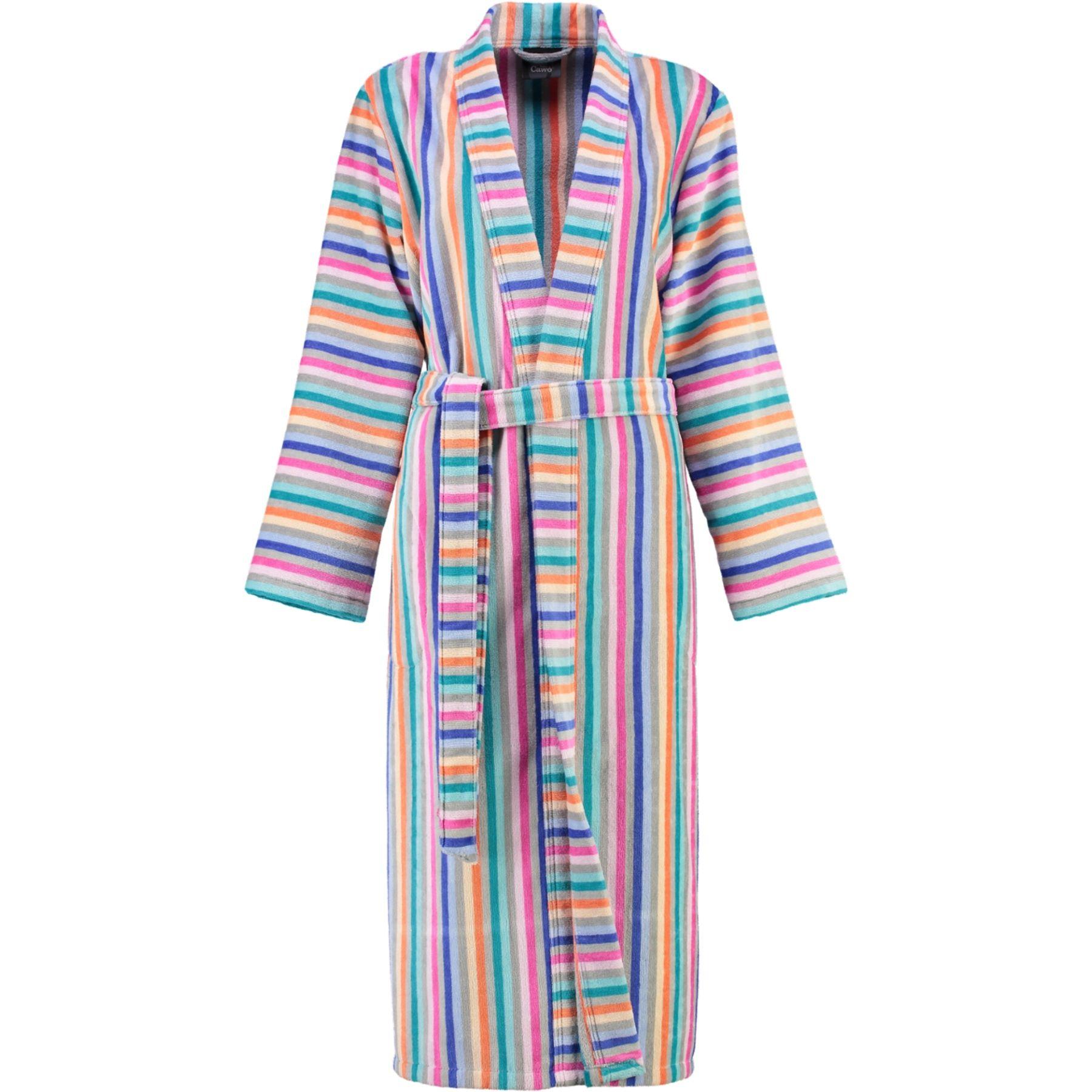 Cawö - Damen Walkvelours-Bademantel in Kimono-Form, gestreift (4342) – Bild 1