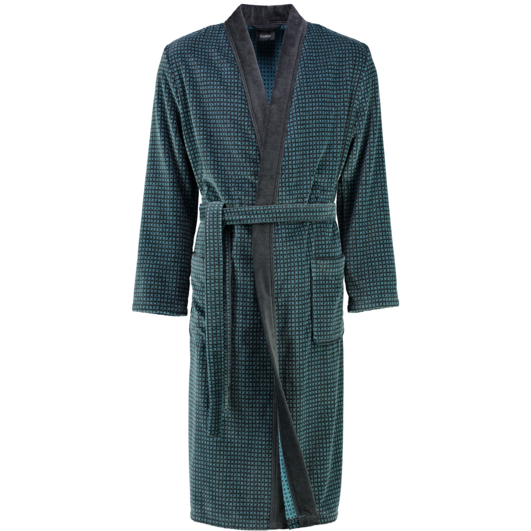 Cawö - Herren Walkvelours Bademantel in Kimono-Form  (4848) – Bild 2