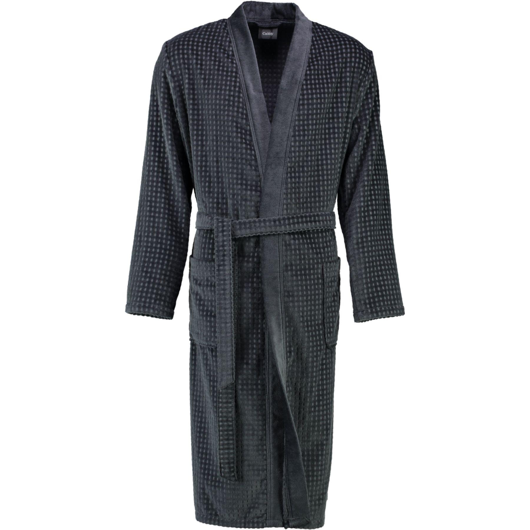 Cawö - Leichter Herren Walkvelours Bademantel in Kimono-Form, Waffelpique-Qualität (3714-SG3914-GG8199) – Bild 7