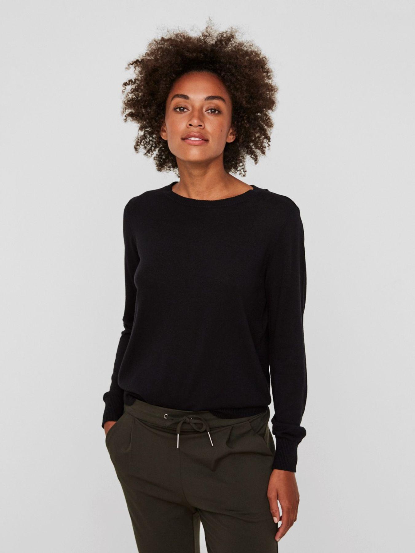 VERO MODA - Damen Pullover in Langarm in schwarz, VMMILDA LS O-NECK BLOUSE NOOS (10196906) – Bild 3