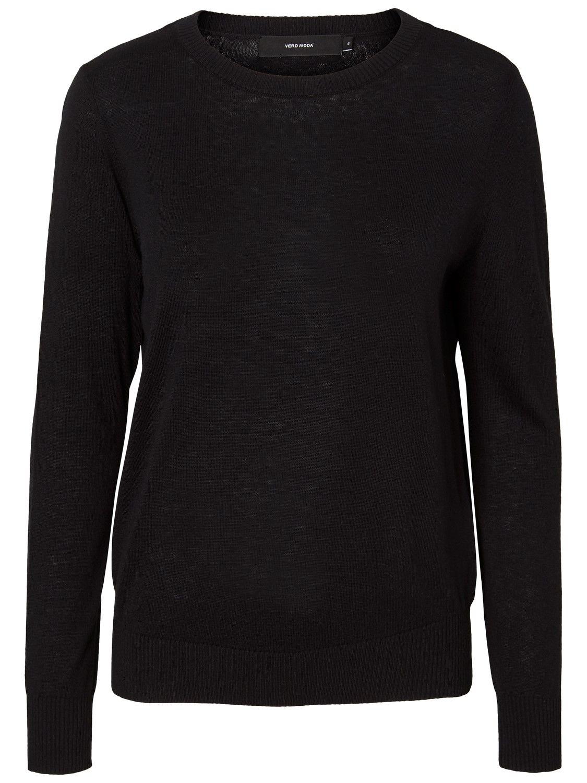 VERO MODA - Damen Pullover in Langarm in schwarz, VMMILDA LS O-NECK BLOUSE NOOS (10196906)