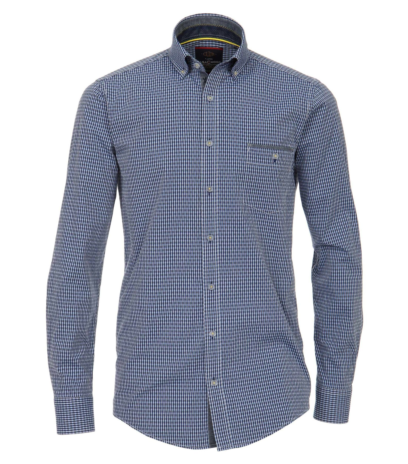 Casa Moda - Casual Fit - Dobby Herren Hemd kariert mit Button Down-Kragen in blau (482898300)