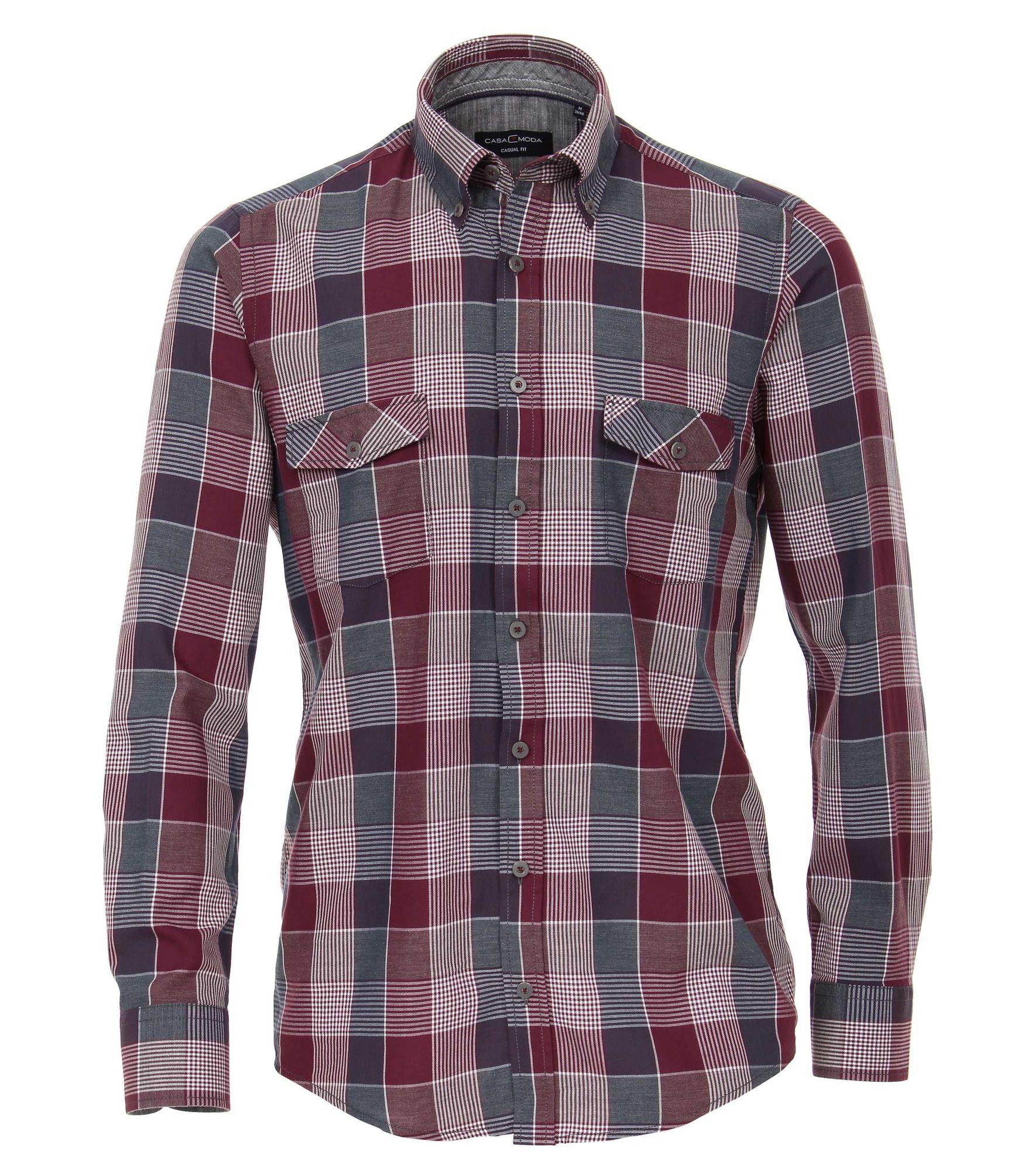 Casa Moda - Comfort Fit - Twill Herren Hemd kariert mit Button Down-Kragen  in rot (483022300) c3dea93b03