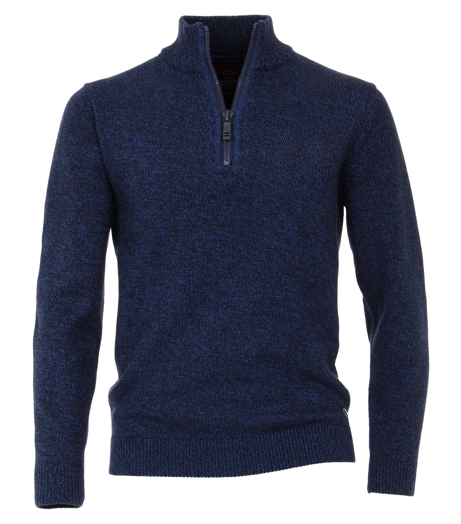 Casa Moda - Herren Troyer unifarben mit Reißverschluss und Stickerei auf der Brust in blau oder rot (472847200)