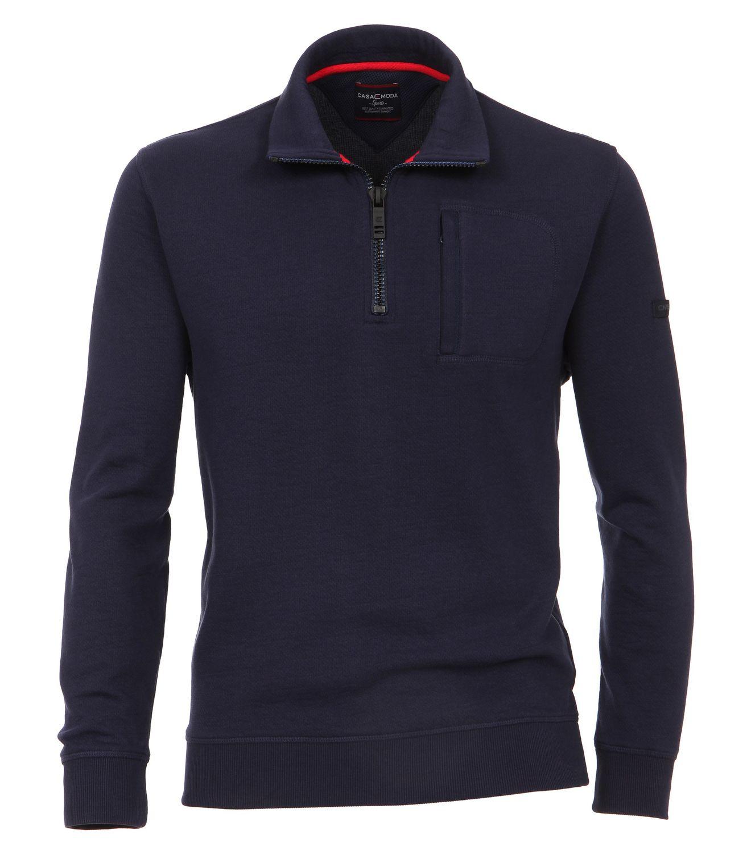 Casa Moda - Herren Sweat-Troyer unifarben mit Reißverschluss und Brusttasche in blau oder rot (482882500) 001