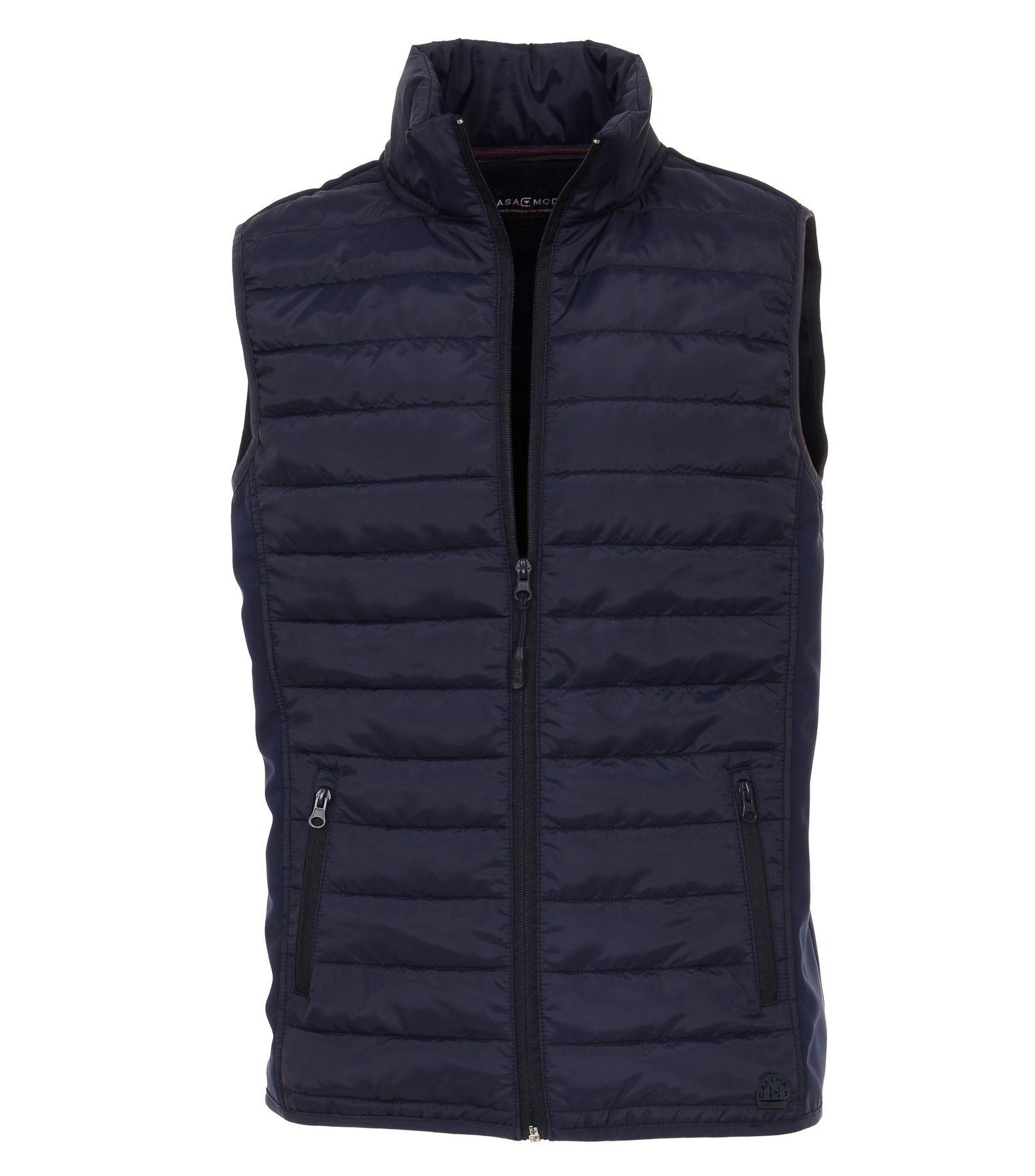 Casa Moda - Herren Sweat-Weste unifarben vorne modisch gesteppt mit Reißverschluss in blau oder rot (482882800)