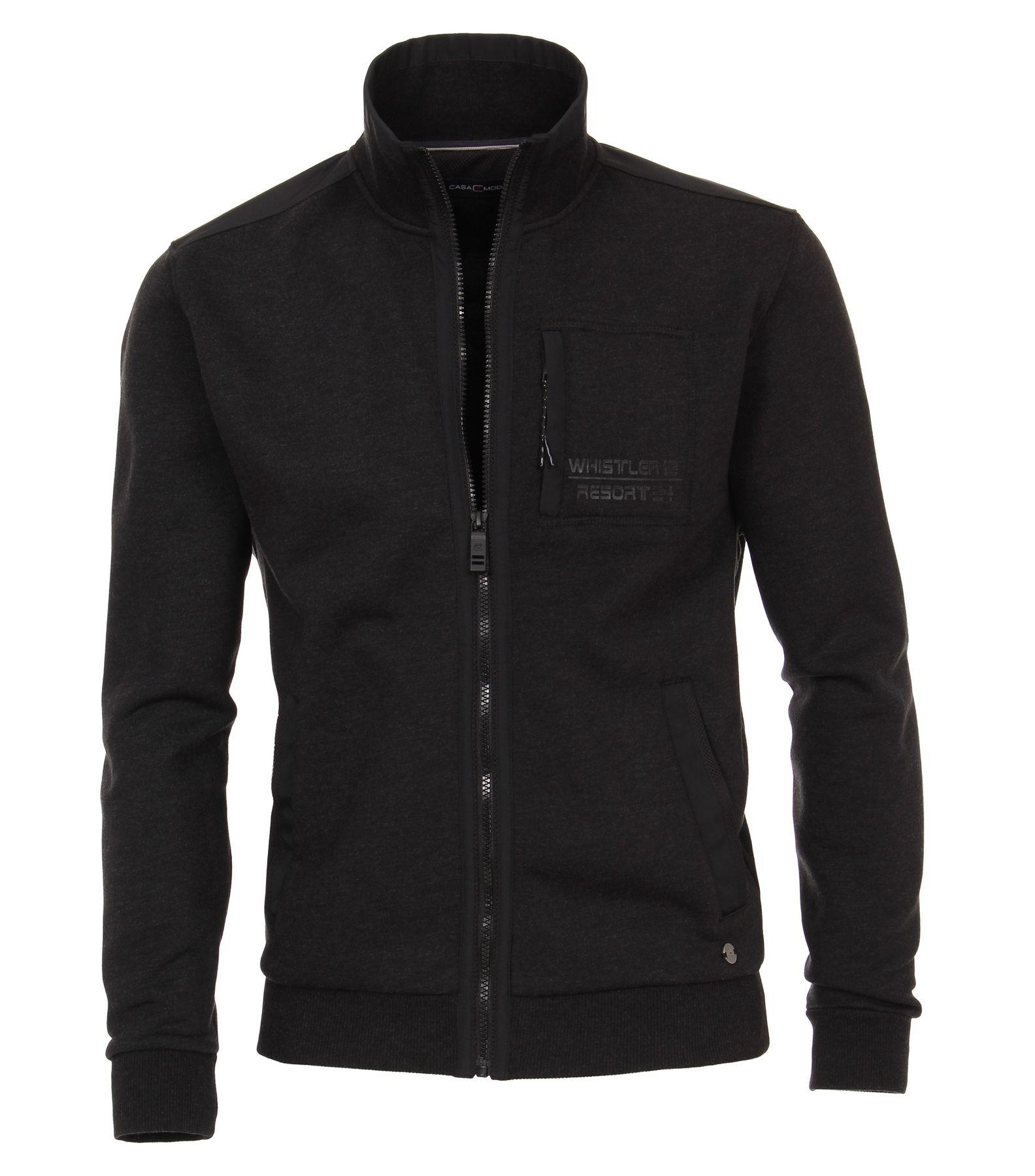 Casa Moda - Herren Sweat-Jacke unifarben mit seitlicher Brusttasche in anthrazit (483081100)
