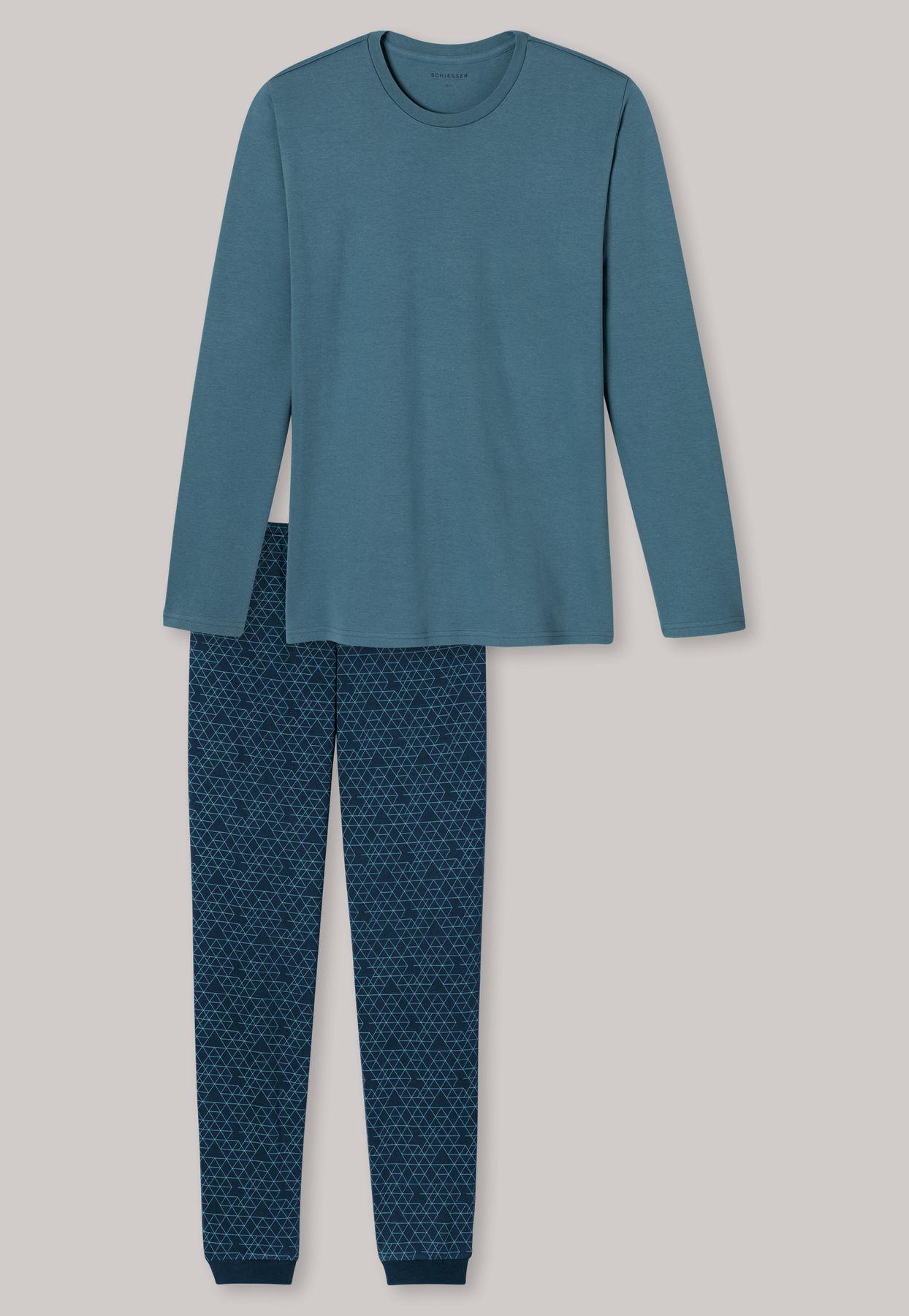 Schiesser - Herren Schlafanzug lang, blaugrün (163799-817) – Bild 4