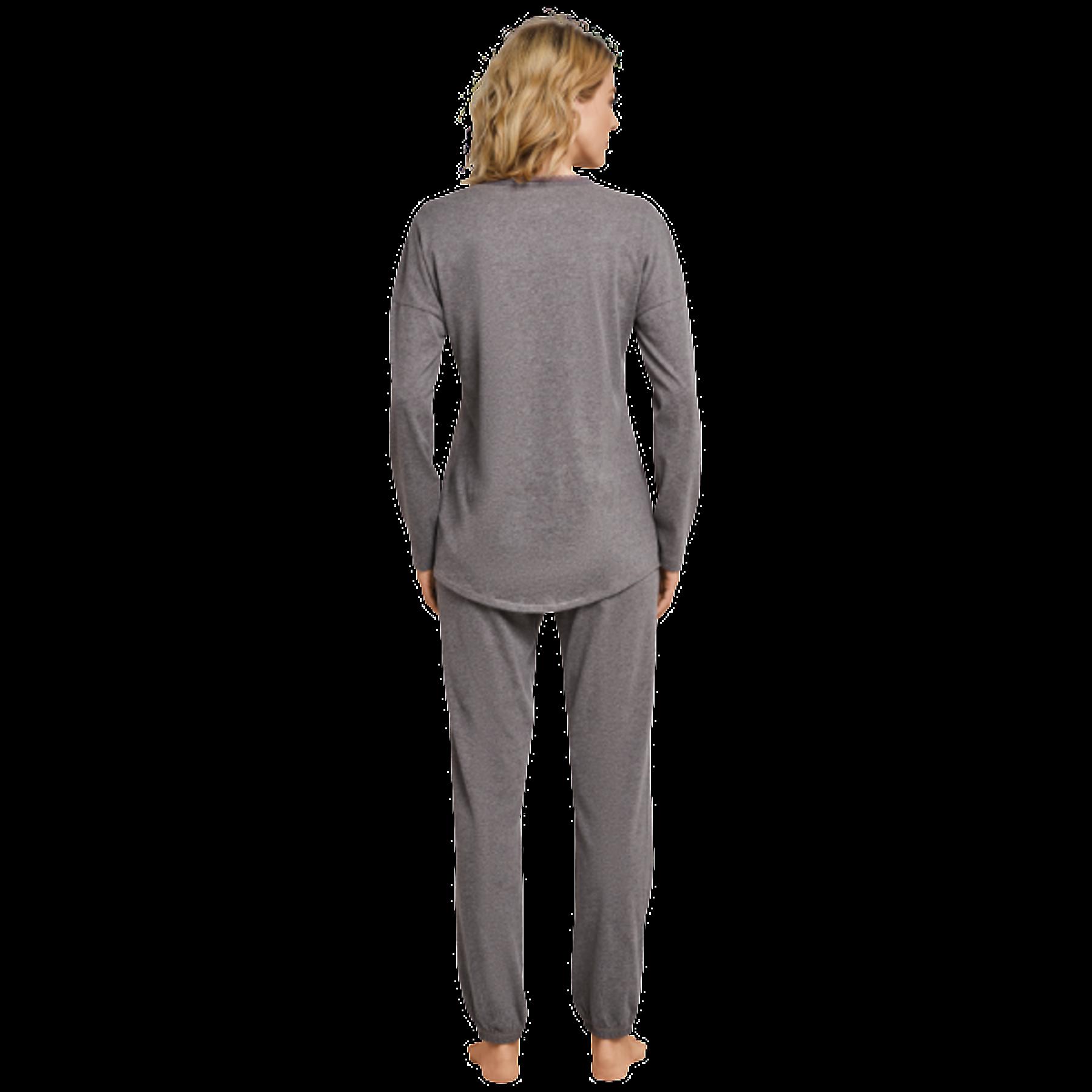 Schiesser - Damen Schlafanzug lang, braungrau-mel. (163107-304) – Bild 3