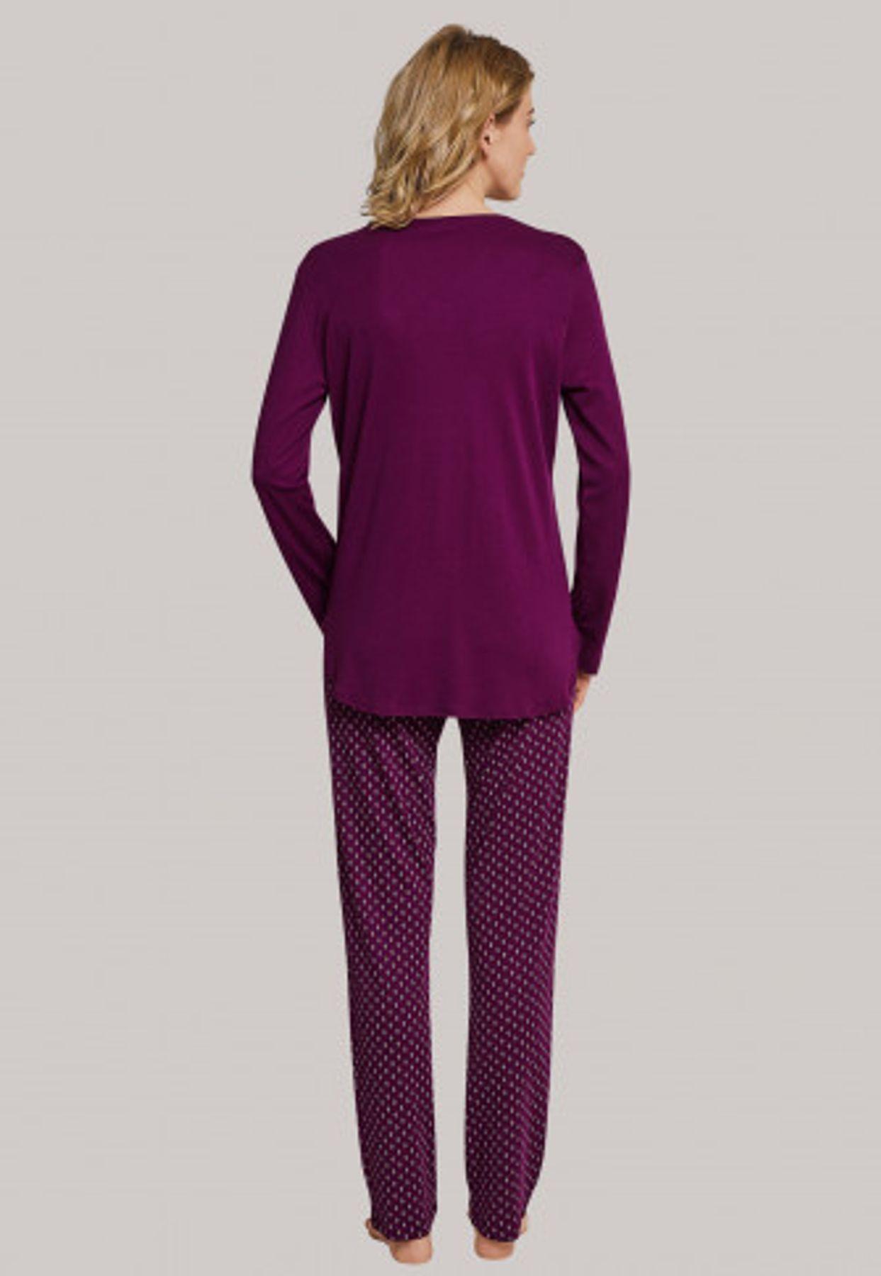 Schiesser - Damen Schlafanzug lang, bordeaux (163053-502) – Bild 2