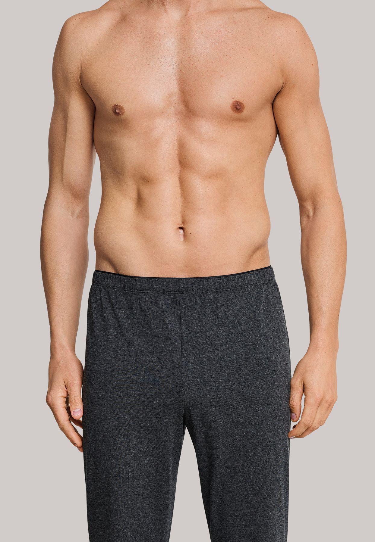 Schiesser - Herren Schlafanzug lang - Jersey Jacquard anthrazit - Long Life Soft (163776-203) – Bild 4