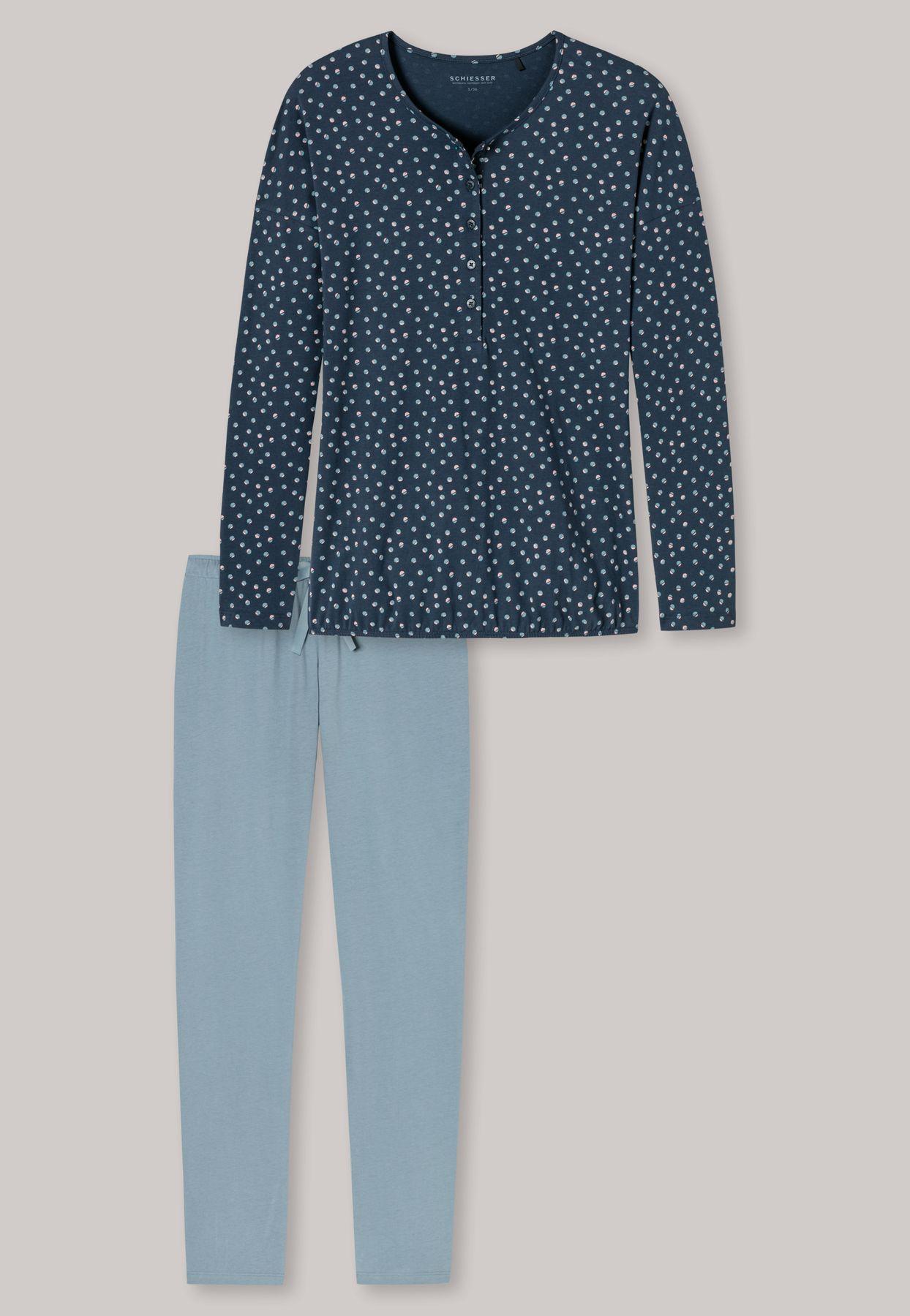 Schiesser - Damen Schlafanzug lang, Knopfleiste mehrfarbig gemustert - Aura (162987-808) – Bild 4