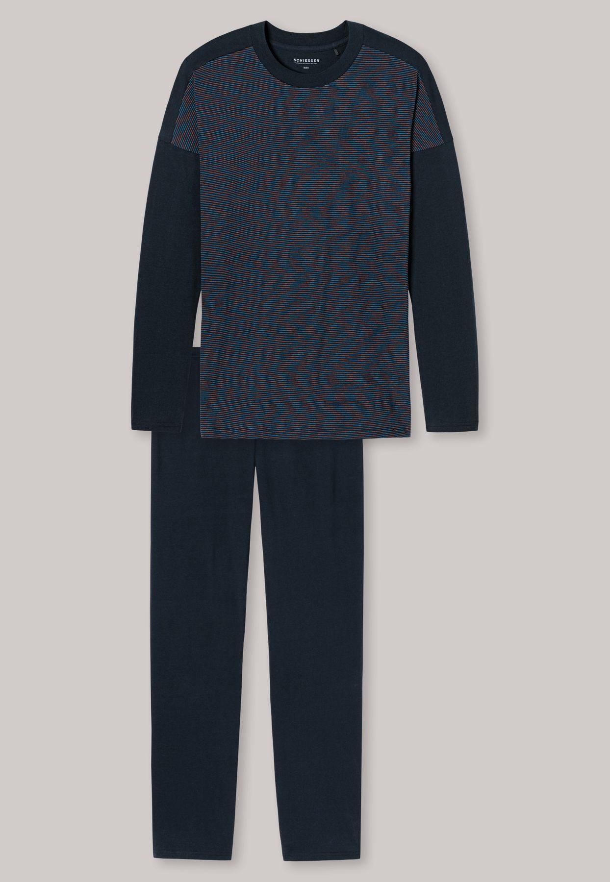 Schiesser - Herren Schlafanzug lang - Effektgarn dunkelblau - Blue Hour (162322-807) – Bild 5