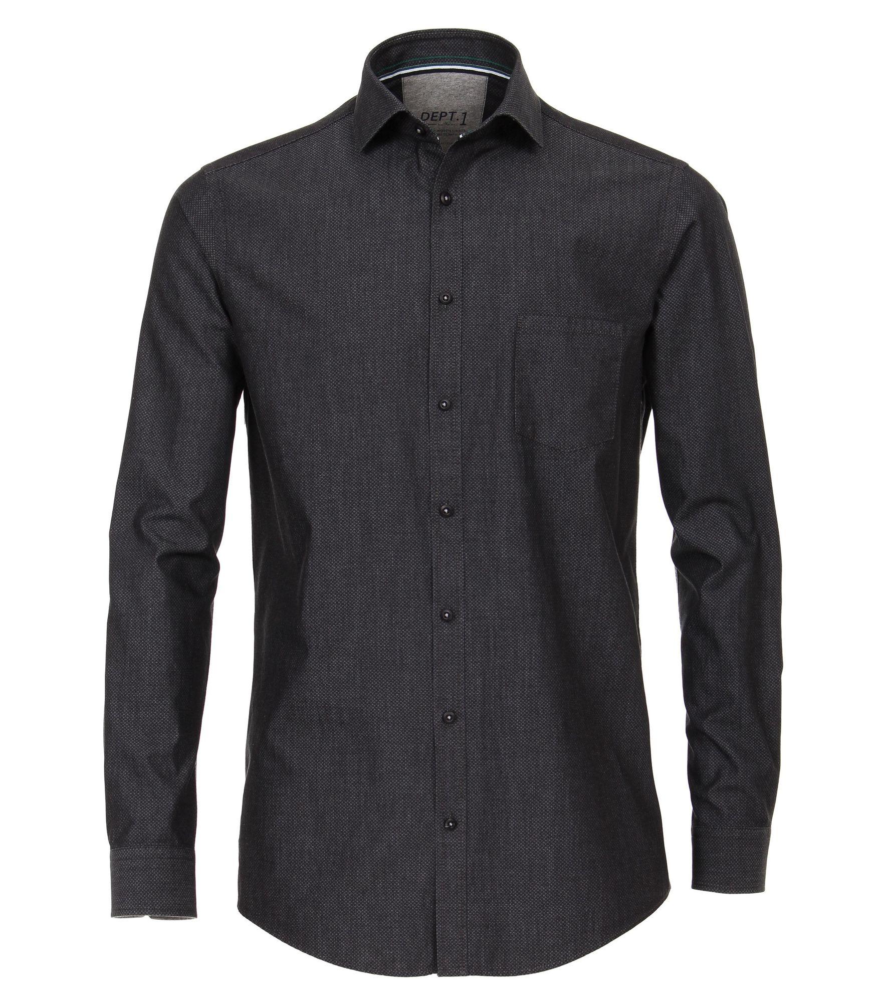 online retailer c3ae1 bc758 Venti - Slim Fit Stretch - Herren Hemd mit modischem Druck mit Hai-Kragen  in anthrazit (183057100)