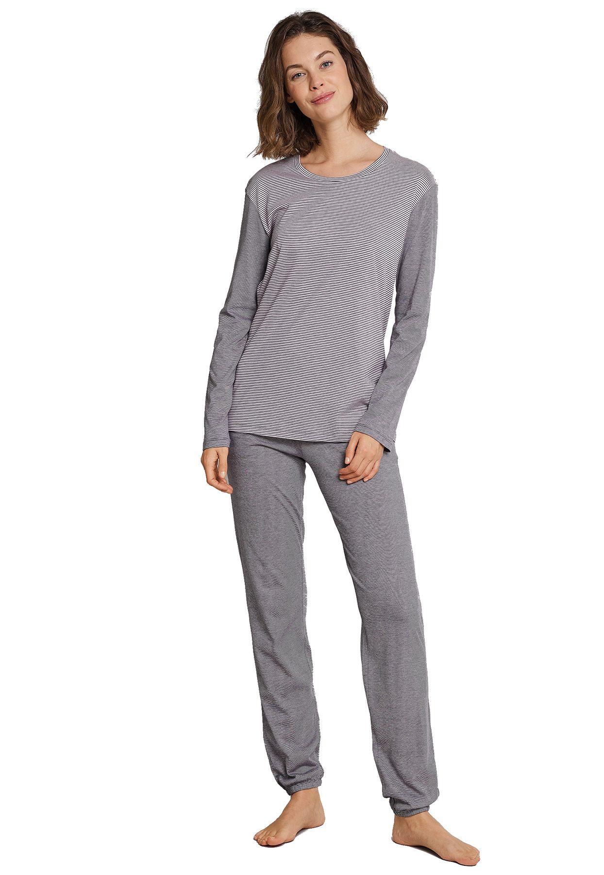Schiesser - Damen Schlafanzug lang, Ringel graphit-rosa - Attitude (162944-207) – Bild 1