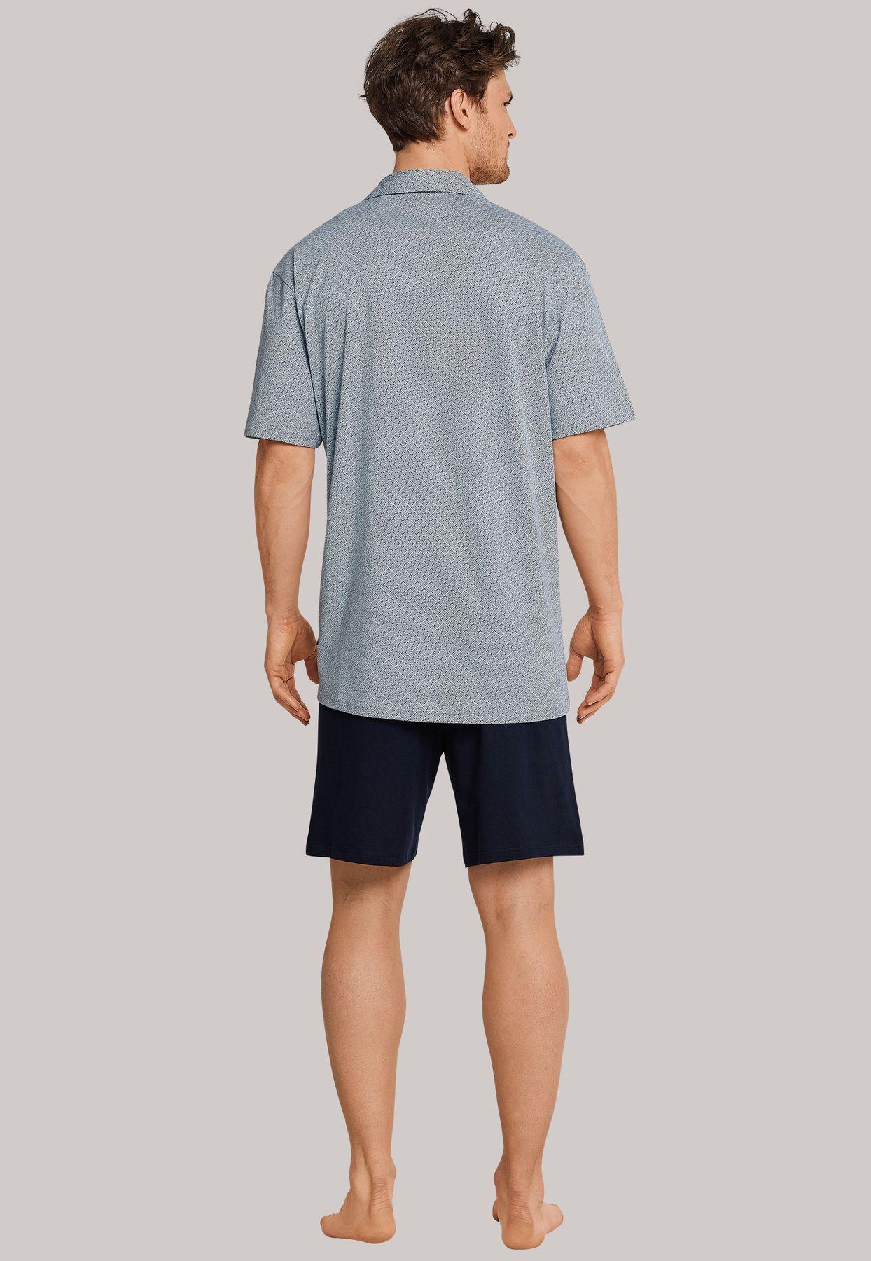 Schiesser - Herren Pyjama kurz Jersey Knopfleiste blau gemustert (163638-803) – Bild 2