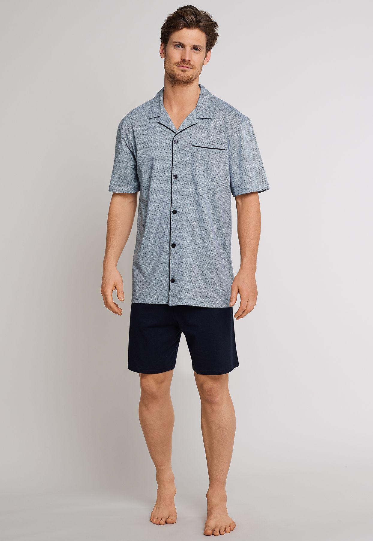 Schiesser - Herren Pyjama kurz Jersey Knopfleiste blau gemustert (163638-803) – Bild 3