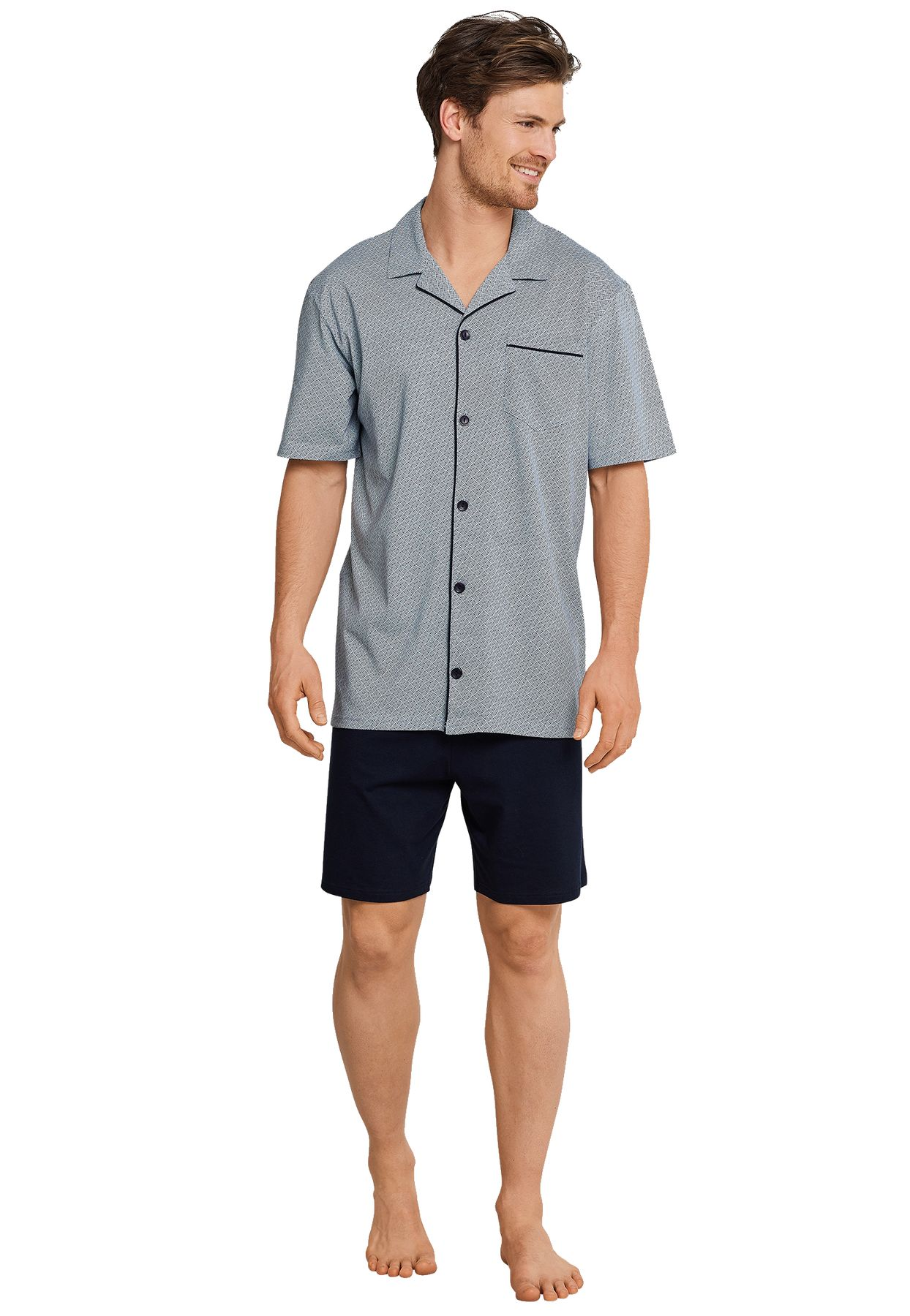 Schiesser - Herren Pyjama kurz Jersey Knopfleiste blau gemustert (163638-803) – Bild 1
