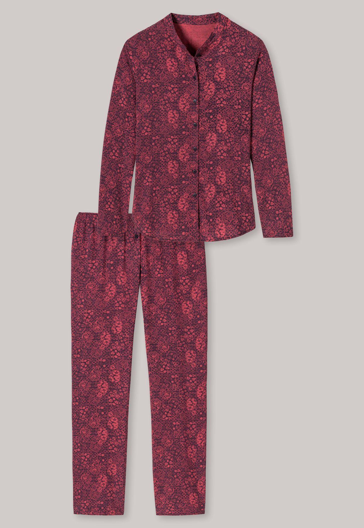 Schiesser - Damen Pyjama lang Webware Viskose floraler Print brombeere - Allure (163033-530) – Bild 3