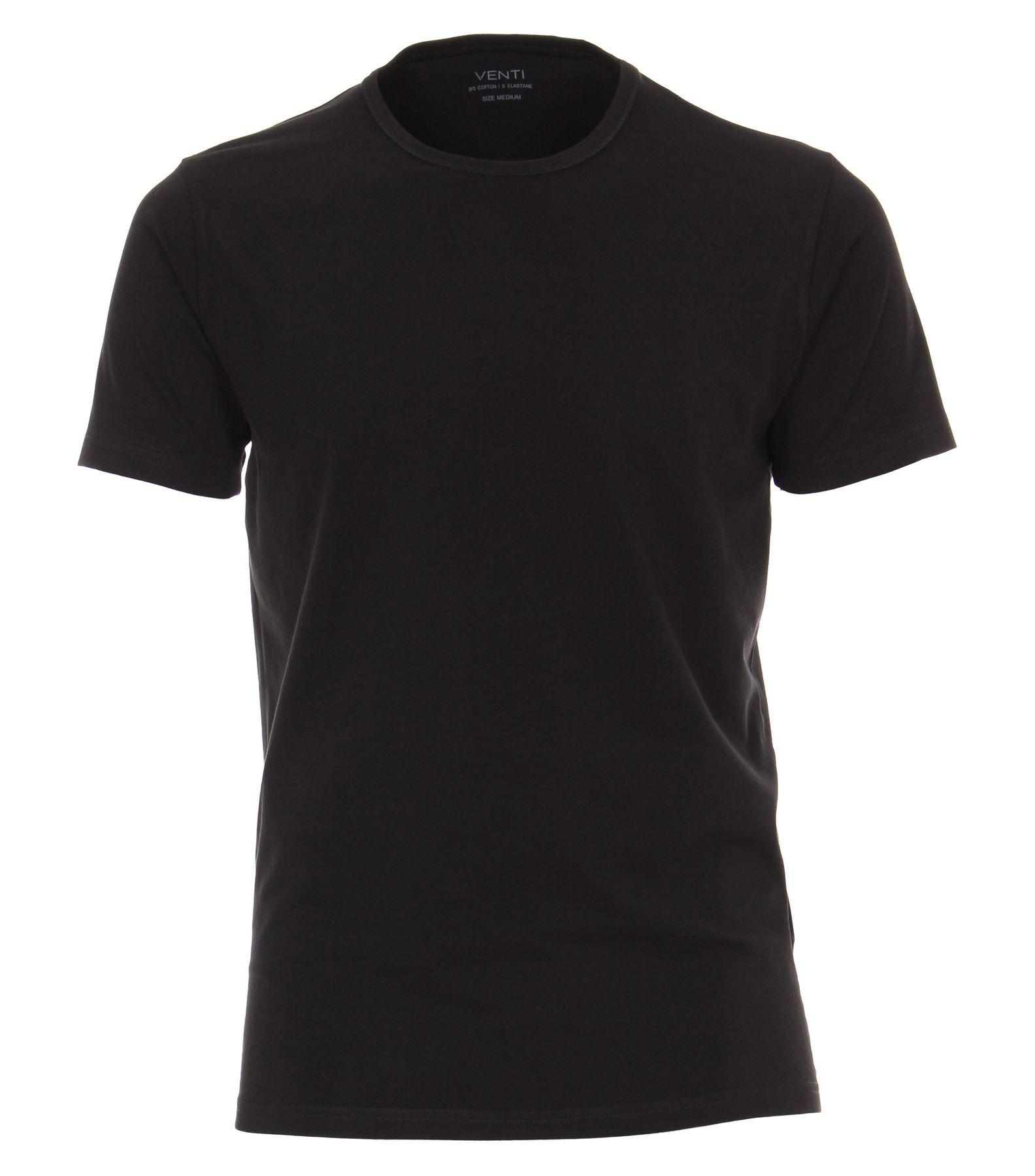 Venti - Herren T-Shirt mit Rundhals im 2er Pack, schwarz oder weiß, S-XXL (012500) – Bild 4