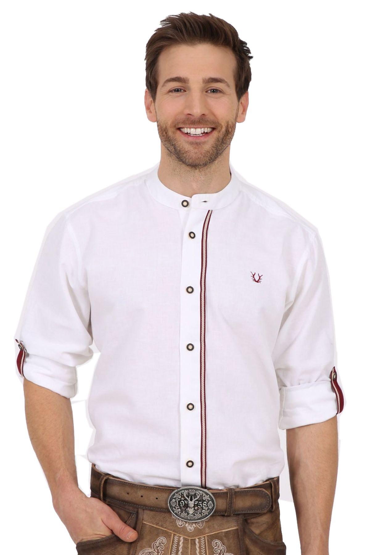 Krüger - Herren Trachtenhemd in weiß/rot , James (97141-190) – Bild 1